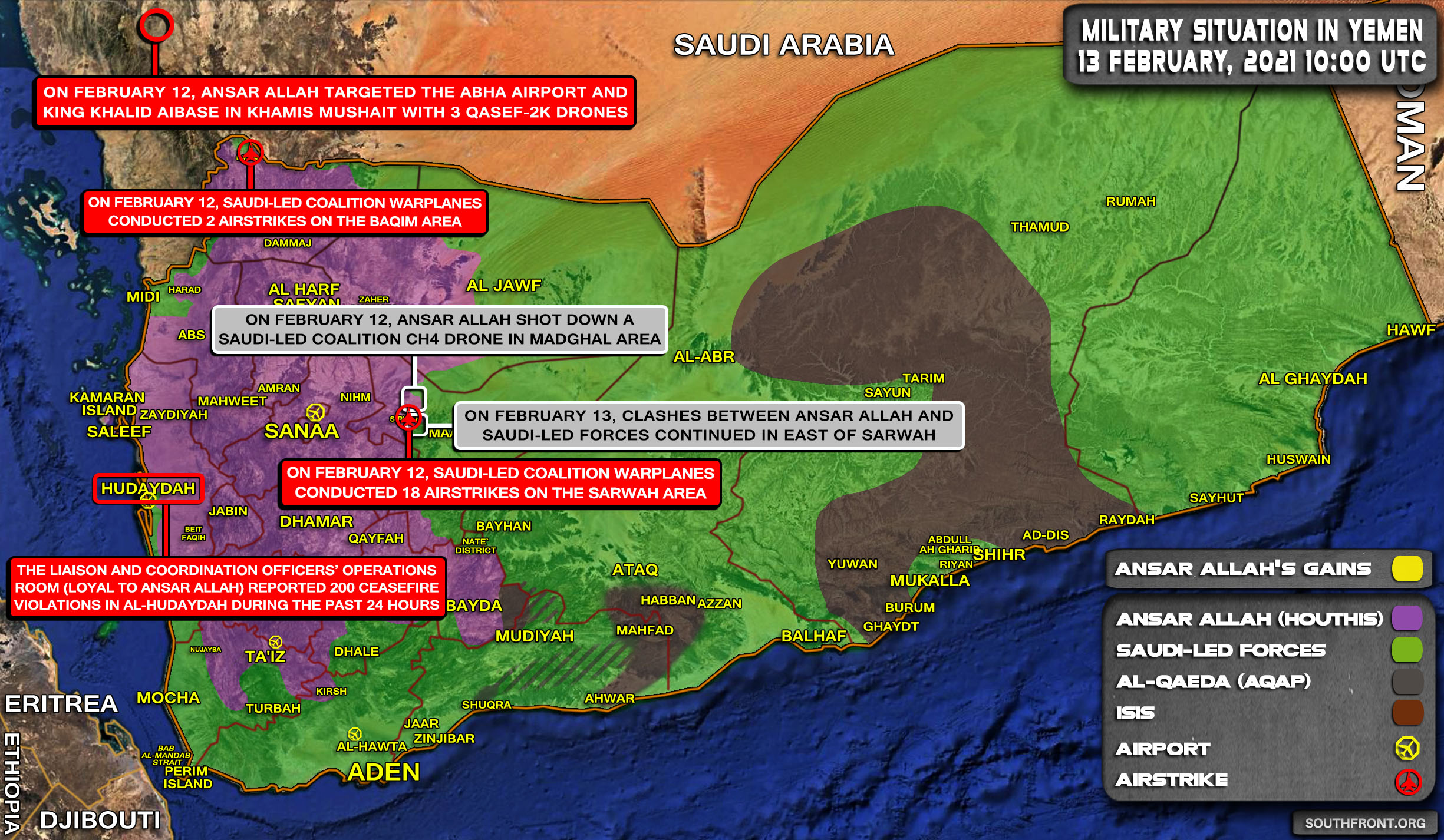 Military Situation In Yemen On February 13, 2021 (Map Update)