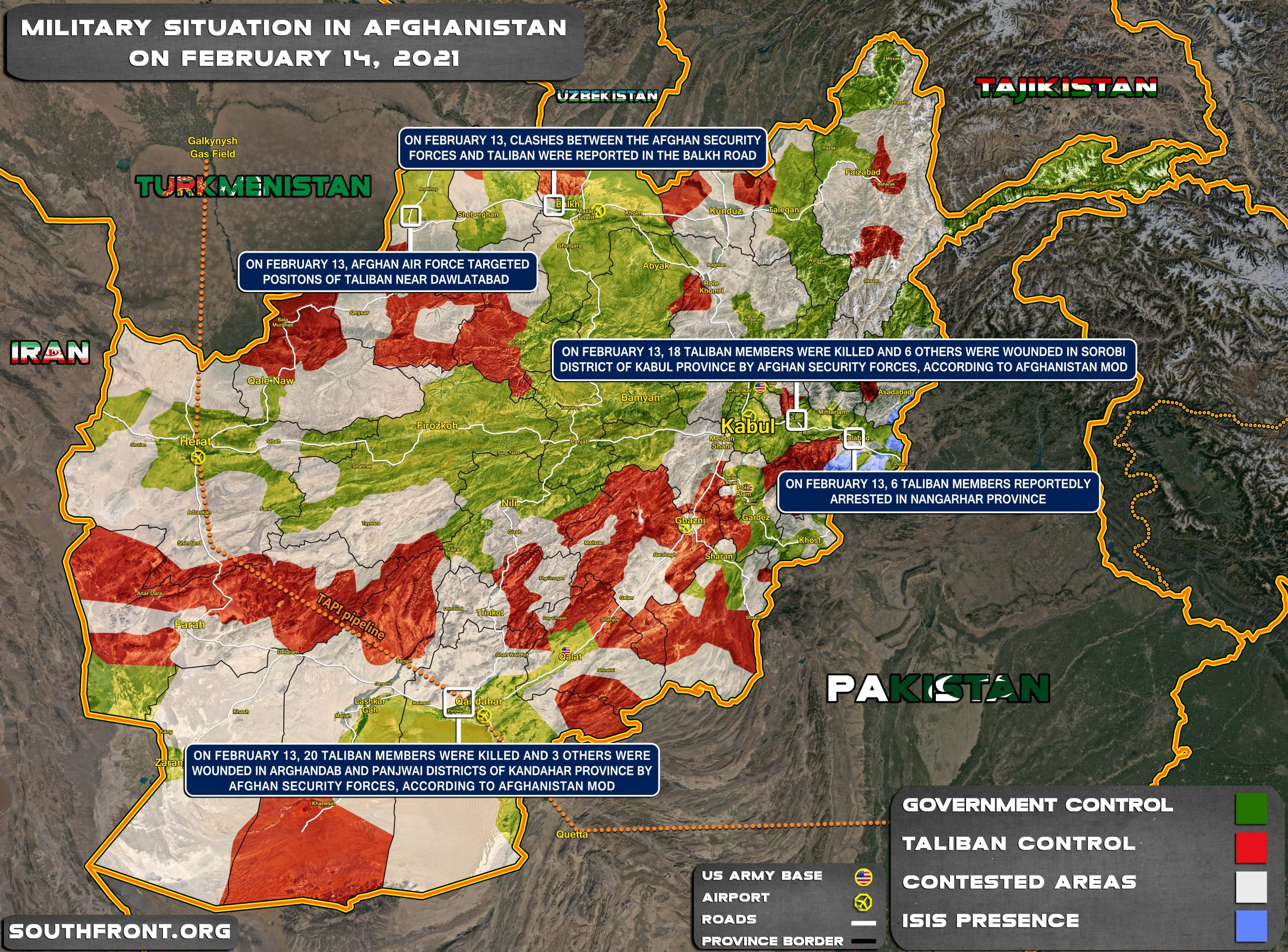 Military Situation In Afghanistan On February 14, 2021 (Map Update)