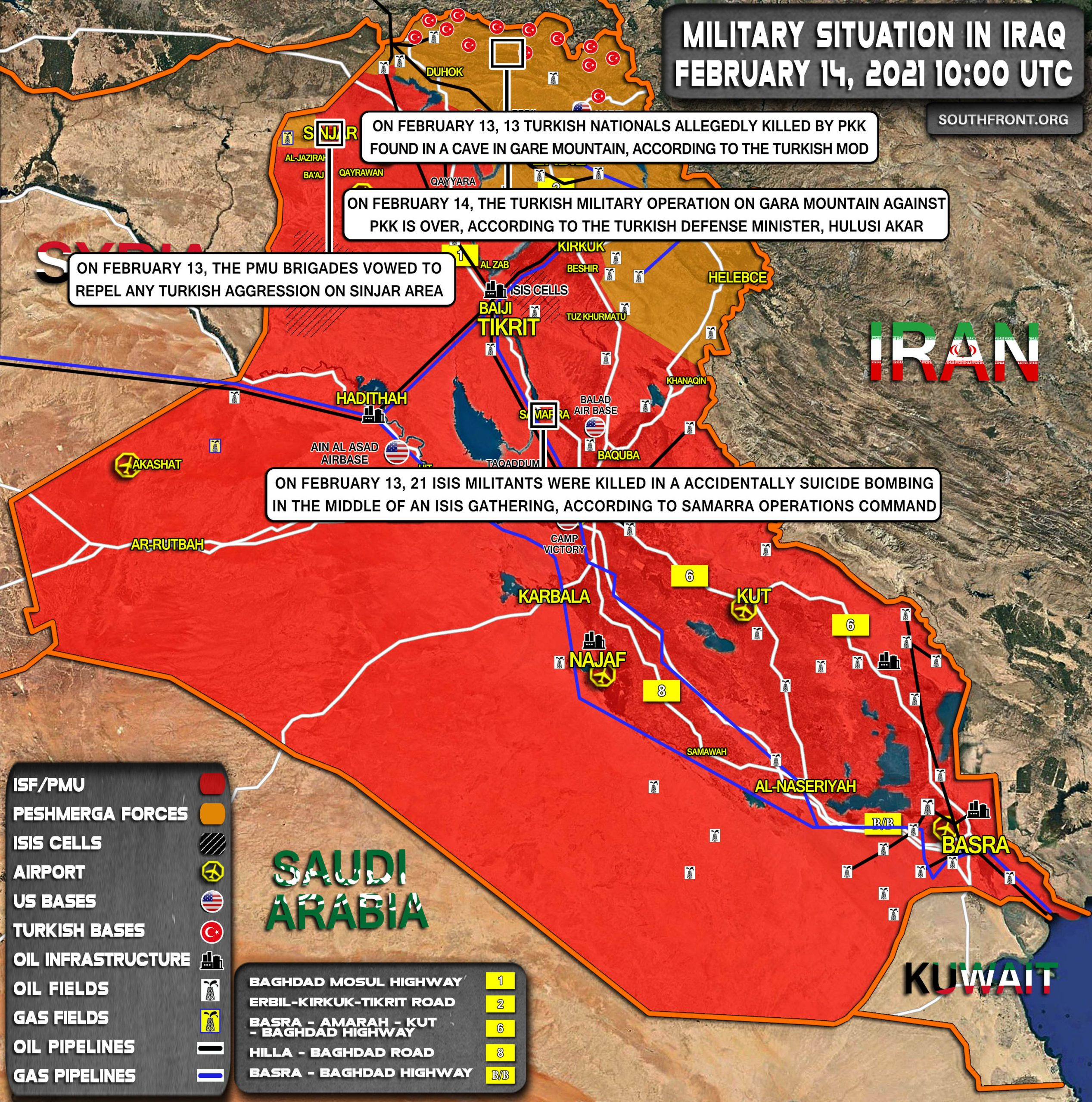 Military Situation In Iraq On February 14, 2021 (Map Update)