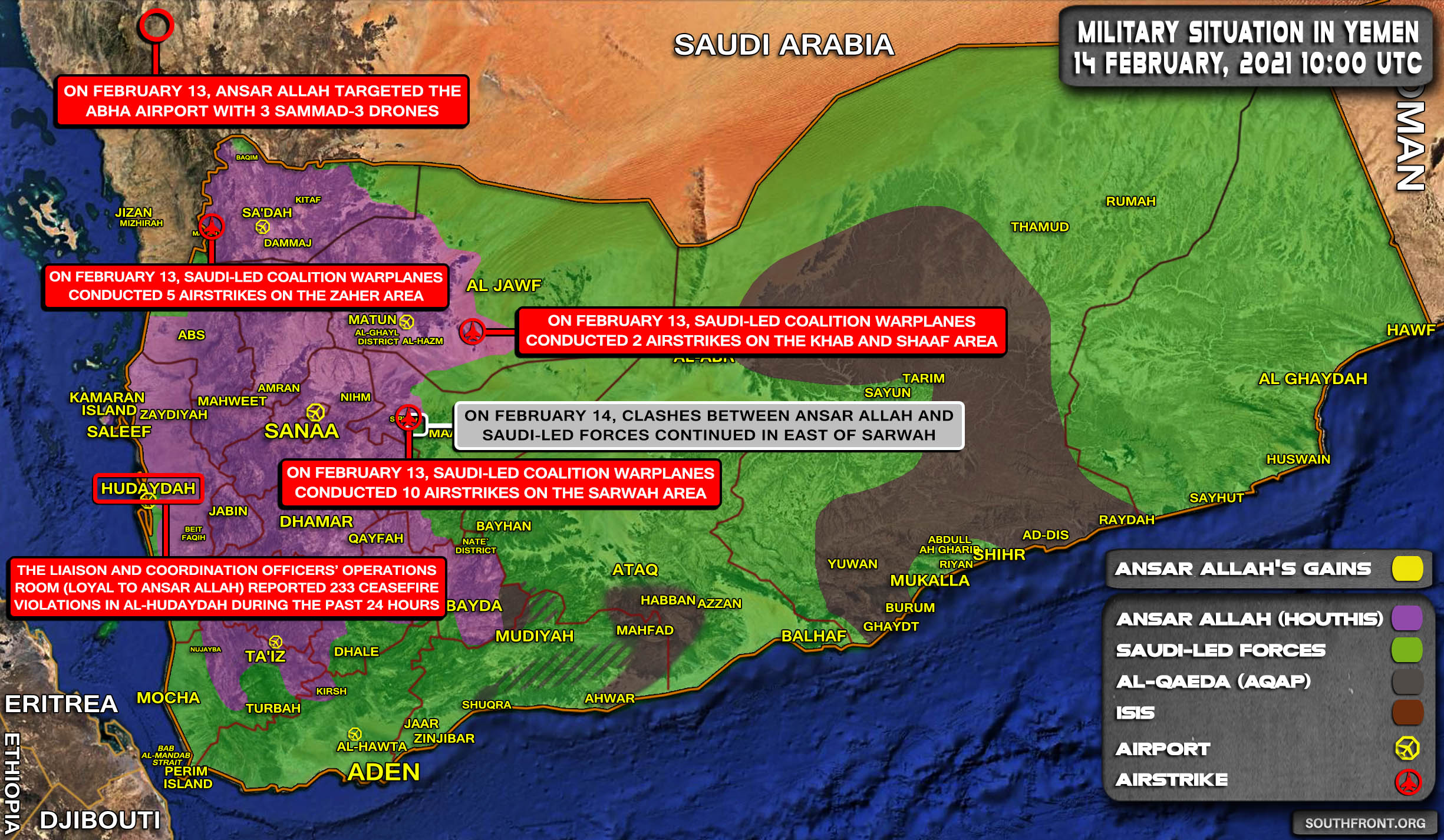 Military Situation In Yemen On February 14, 2021 (Map Update)