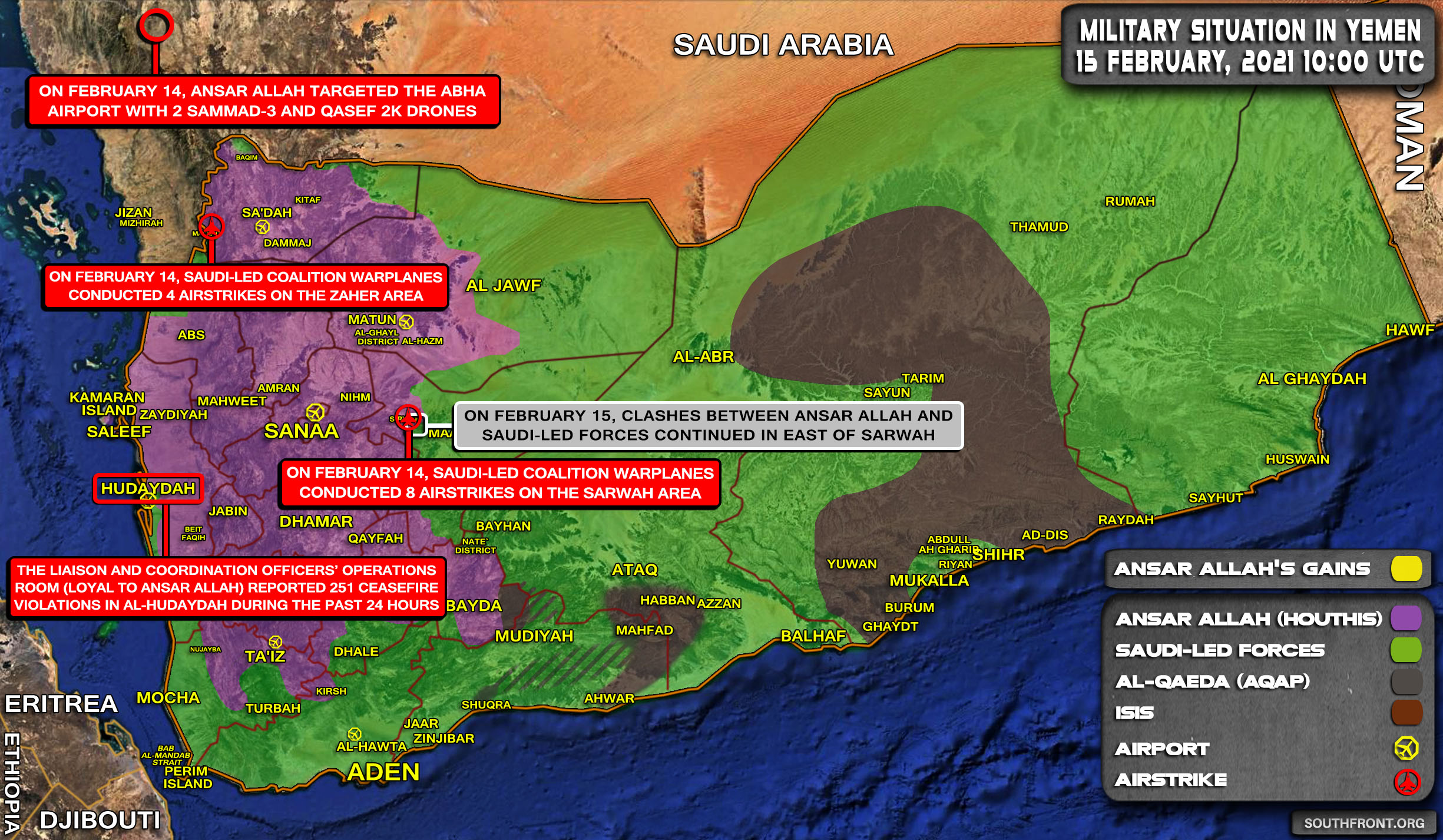 Military Situation In Yemen On February 15, 2021 (Map Update)
