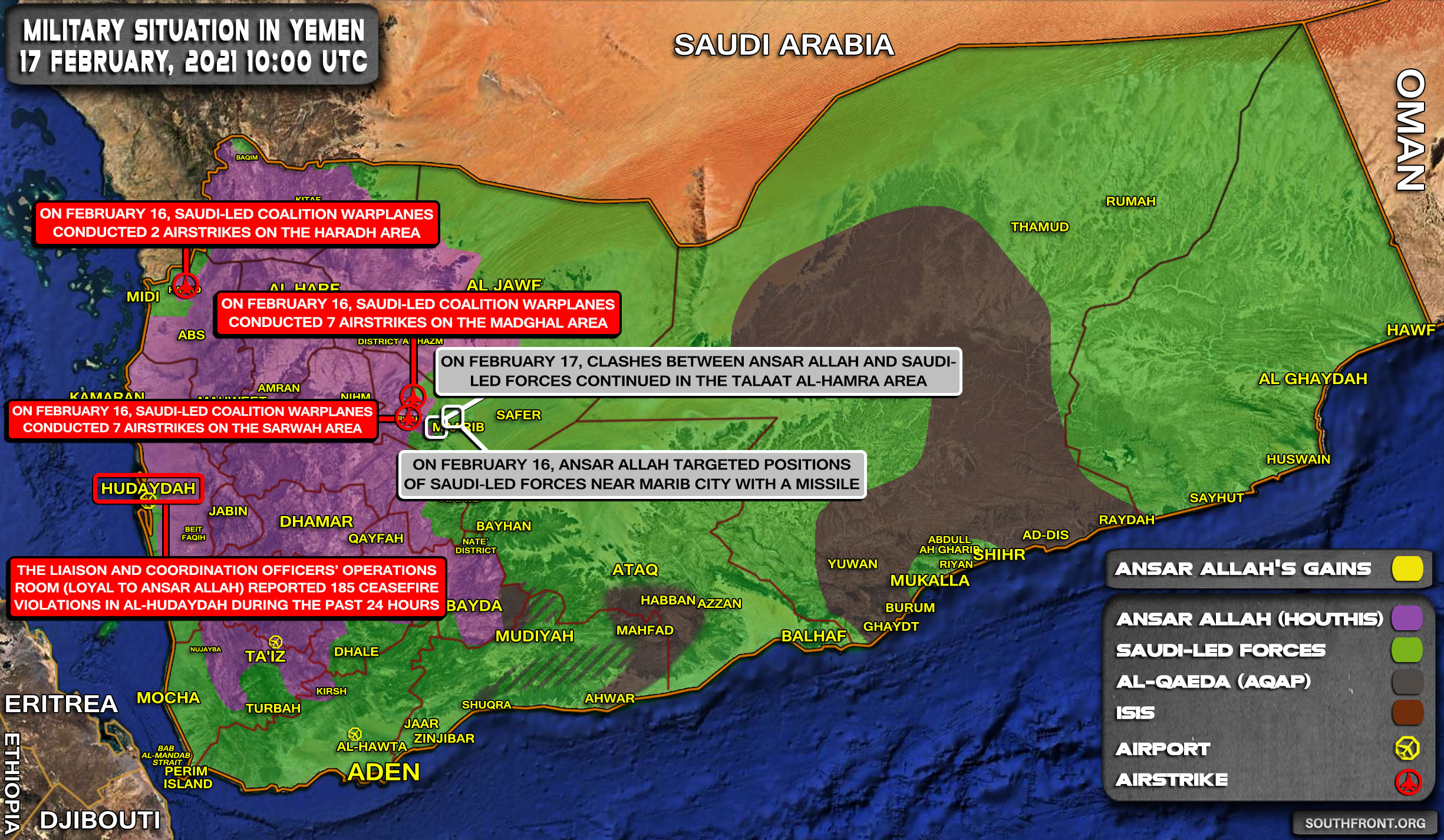 Military Situation In Yemen On February 17, 2021 (Map Update)