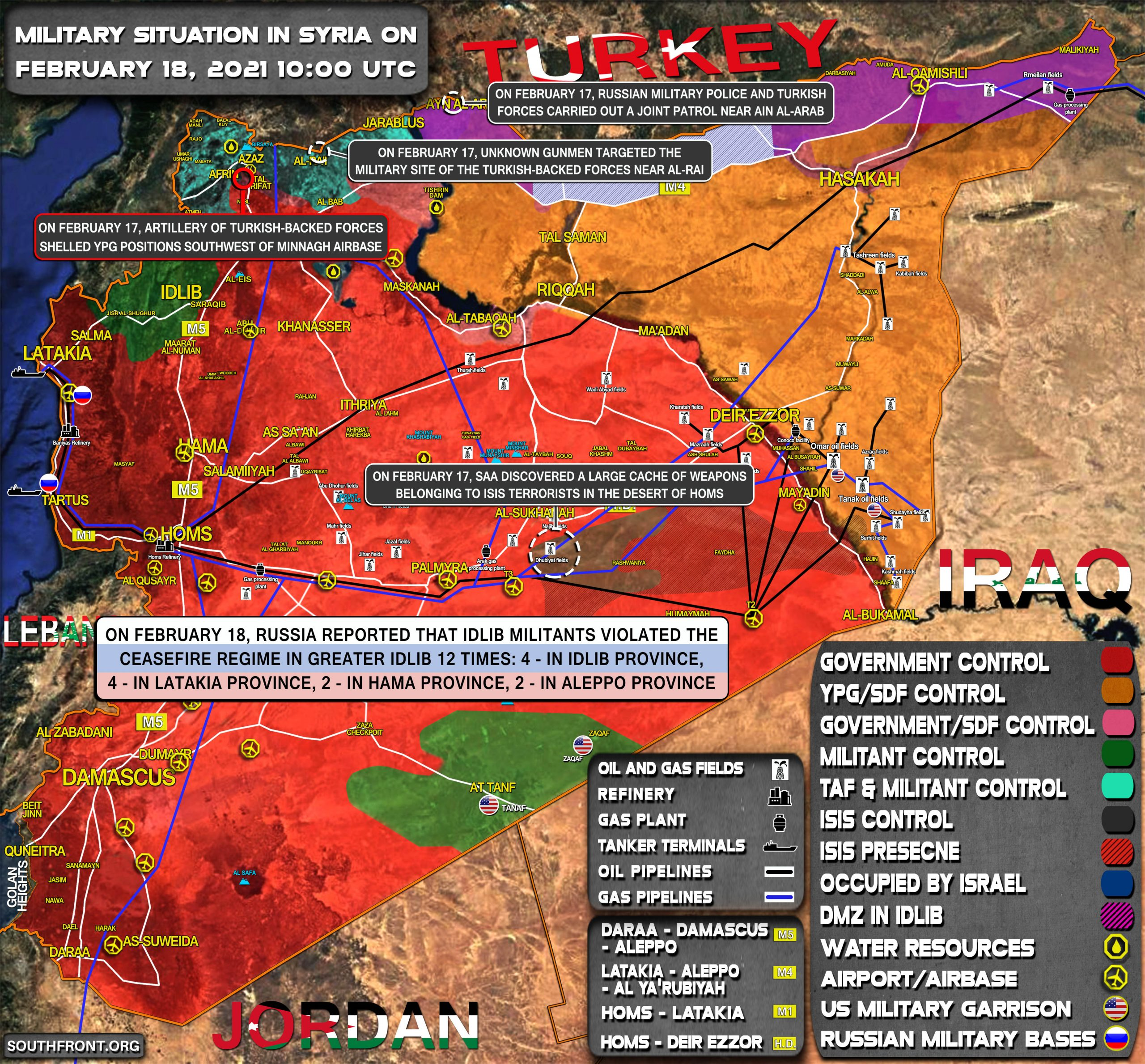 Military Situation In Syria On February 18 2021 (Map Update)