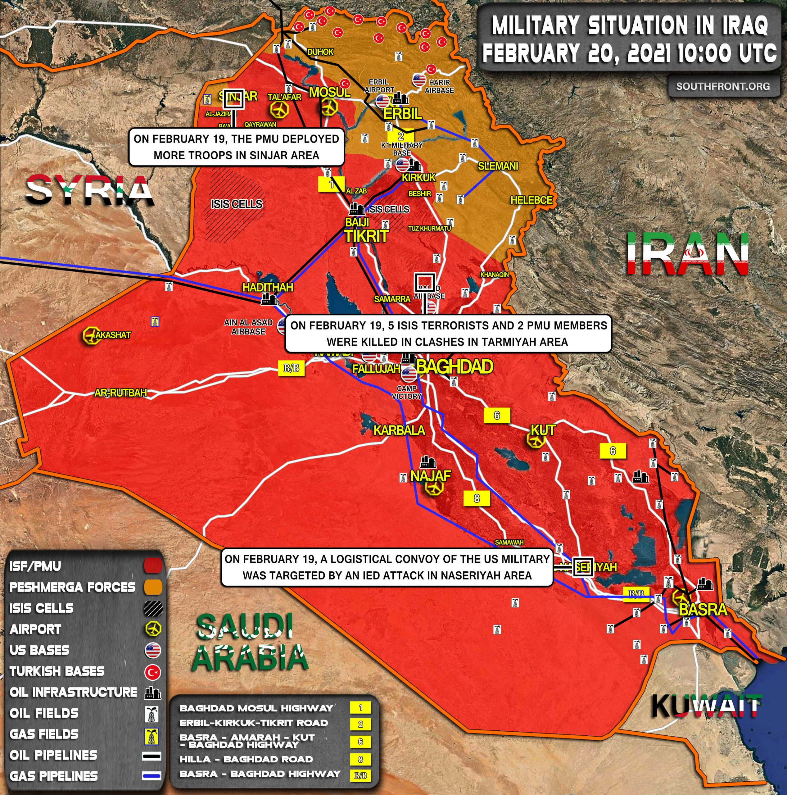 Military Situation In Iraq On February 20, 2021 (Map Update)