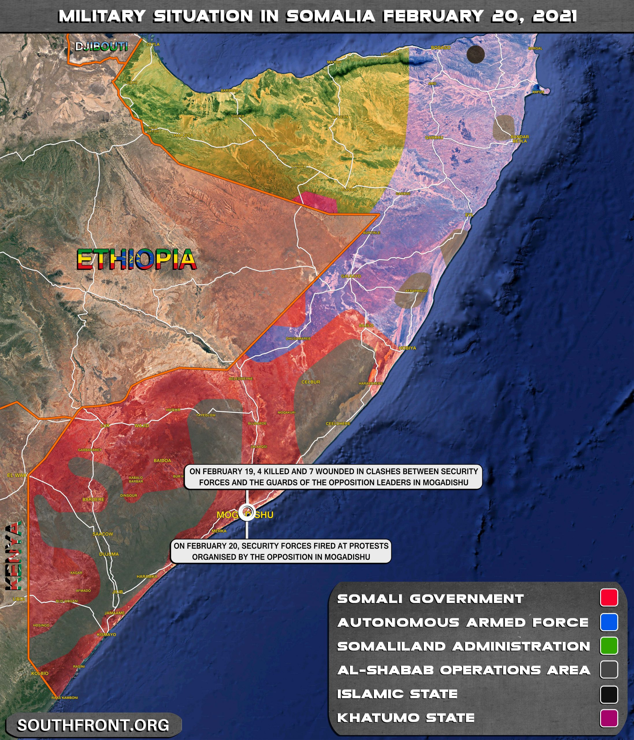 Security Forces Open Fire On Protesters In Somalia, Al-Shabaab Continue Their Attacks (Map Update)