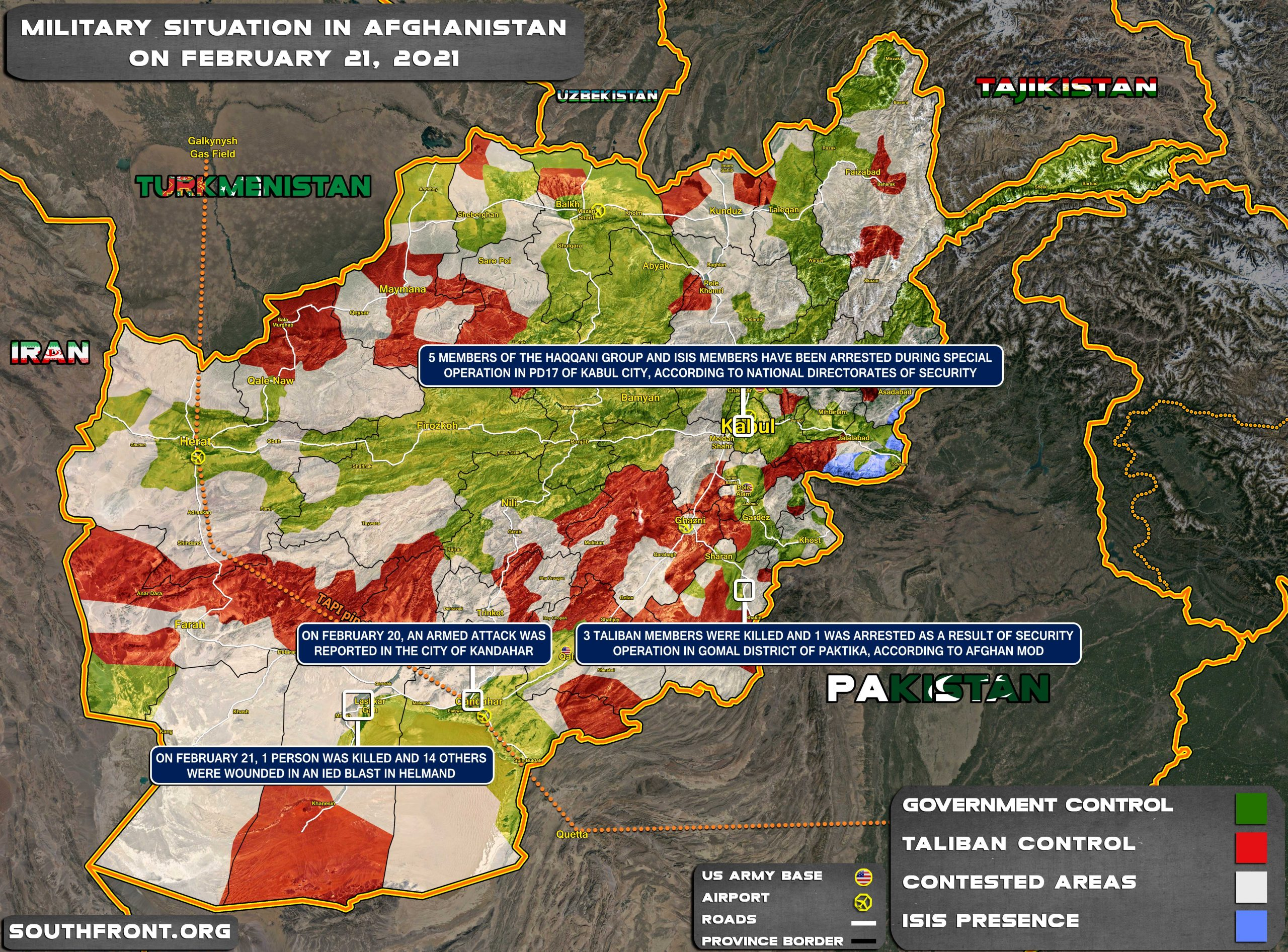 Military Situation In Afghanistan On February 21st, 2021 (Map Update)