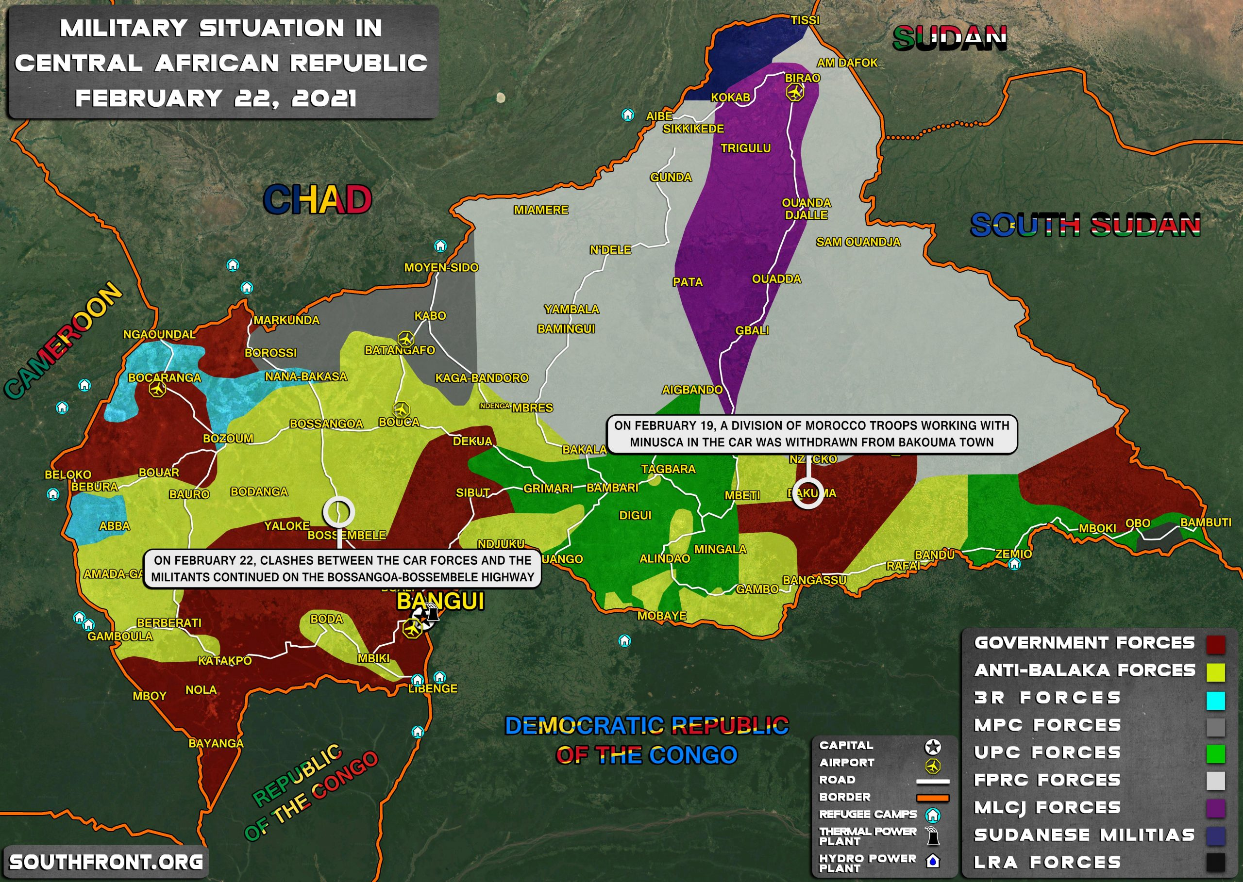 Military Situation In Central African Republic On February 22, 2021 (Map Update)