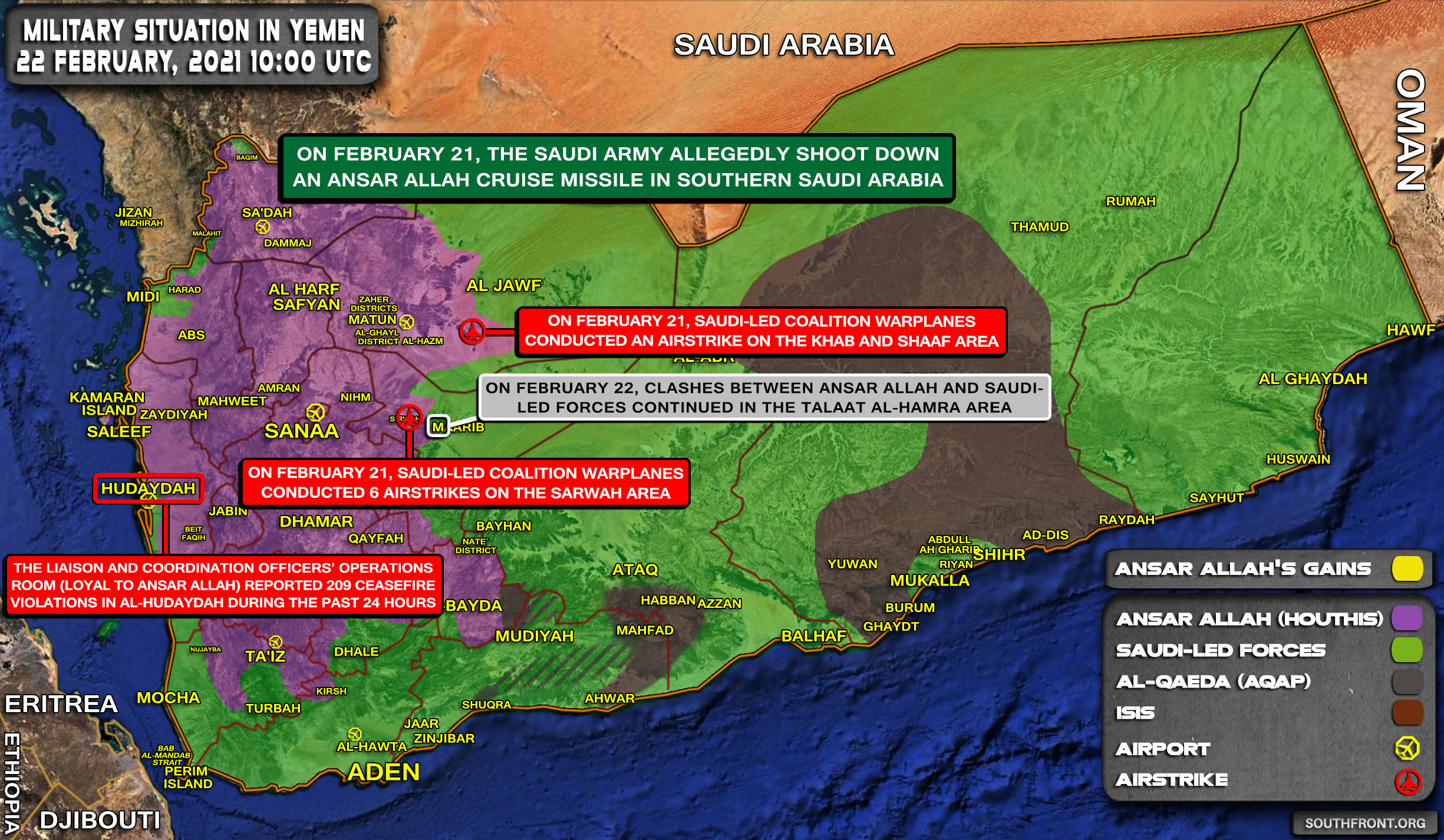 Military Situation In Yemen On February 22, 2021 (Map Update)