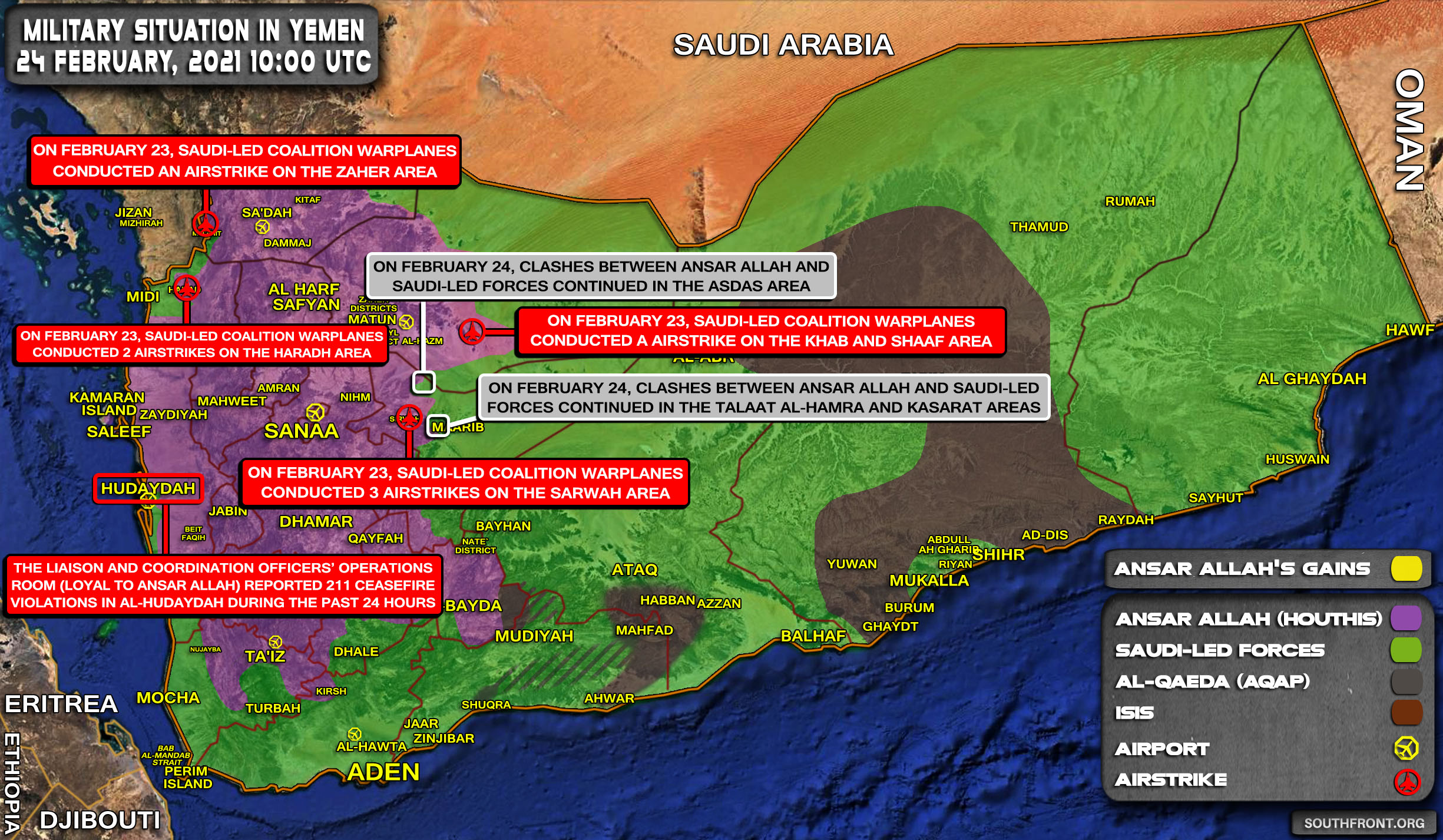 Military Situation In Yemen On February 24, 2021 (Map Update)
