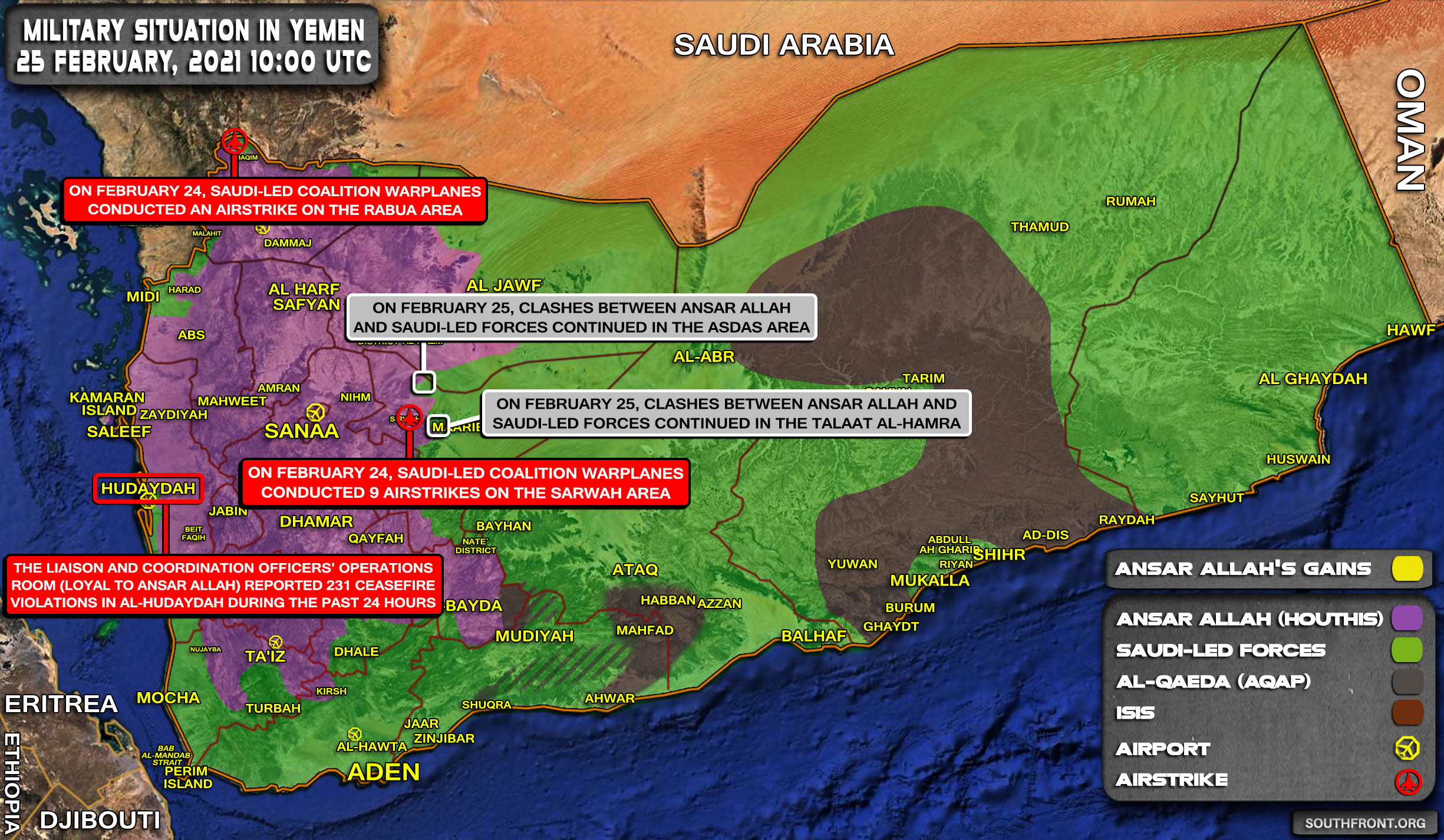 Military Situation In Yemen On February 25, 2021 (Map Update)