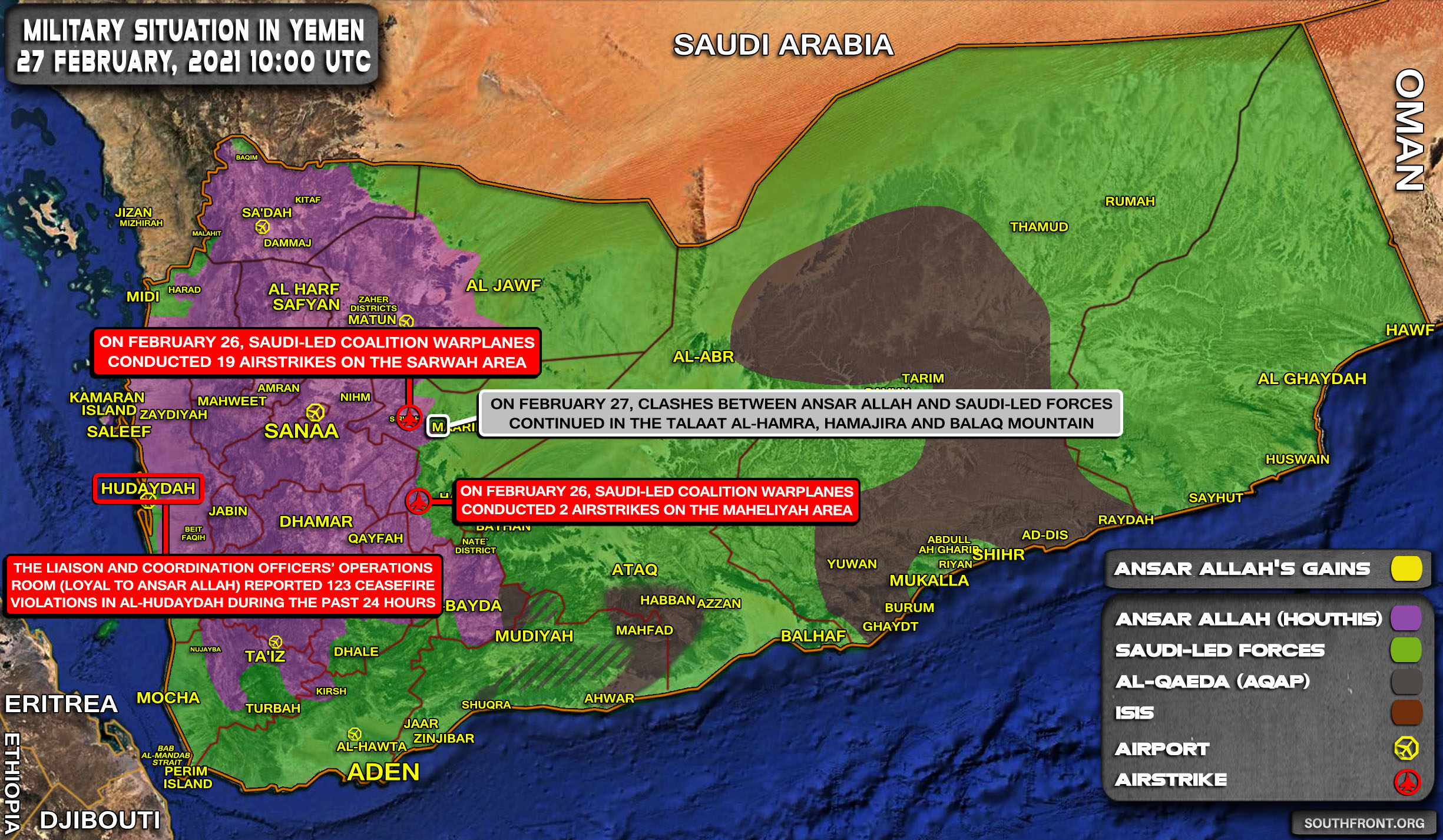 Military Situation In Yemen On February 27, 2021 (Map Update)