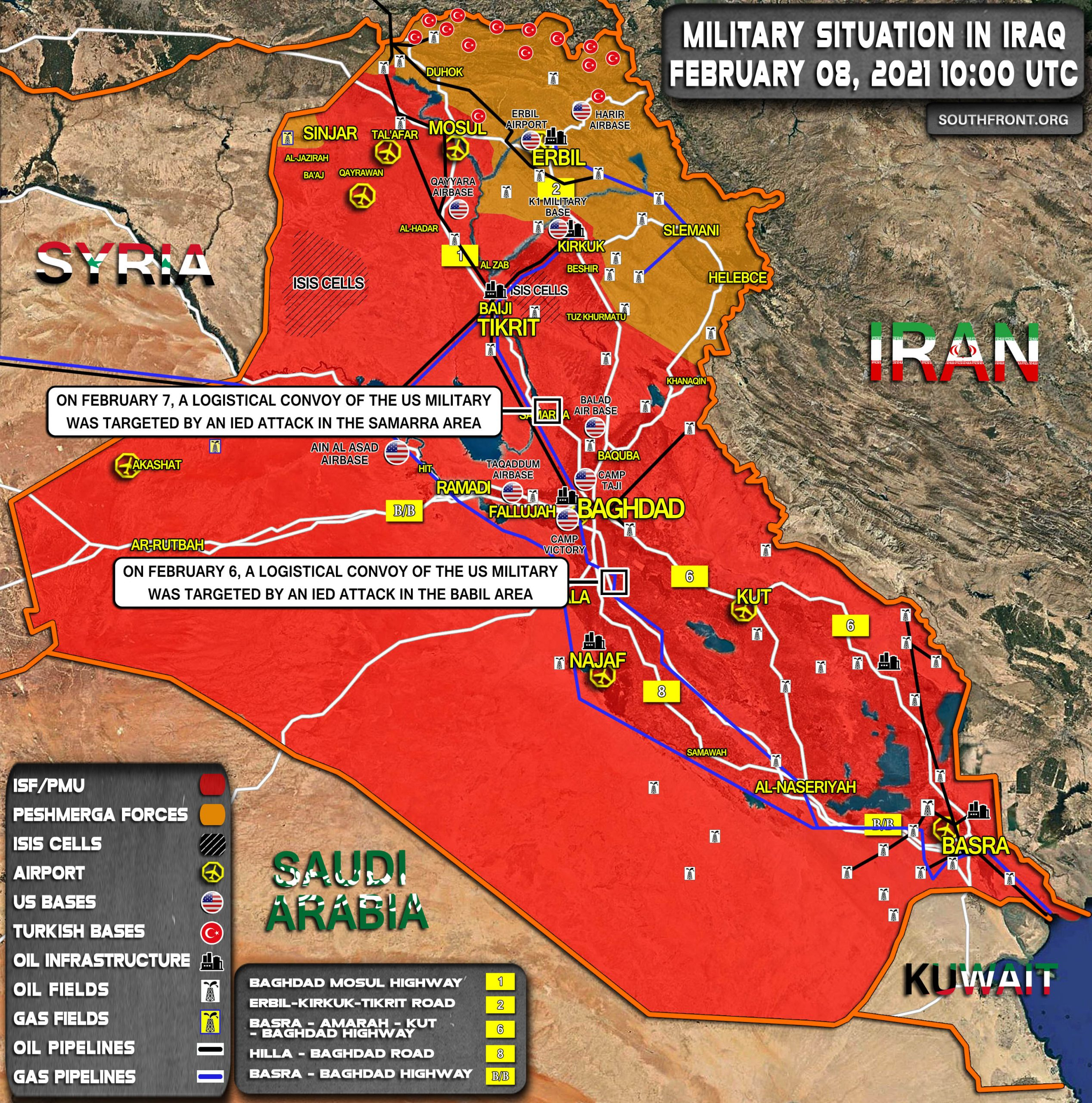 Military Situation In Iraq On February 8, 2021 (Map Update)