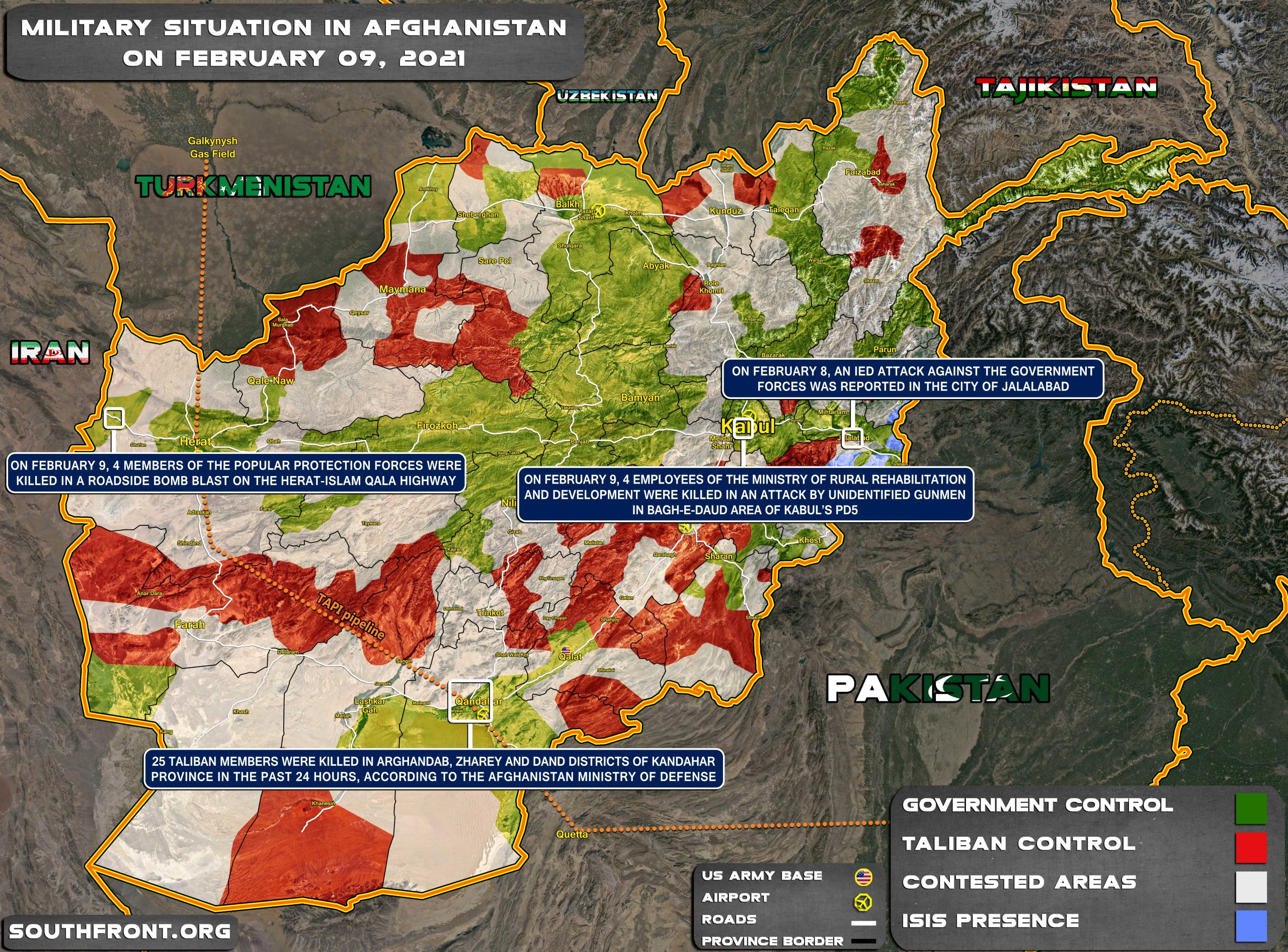 Military Situation In Afghanistan On February 9, 2021 (Map Update)