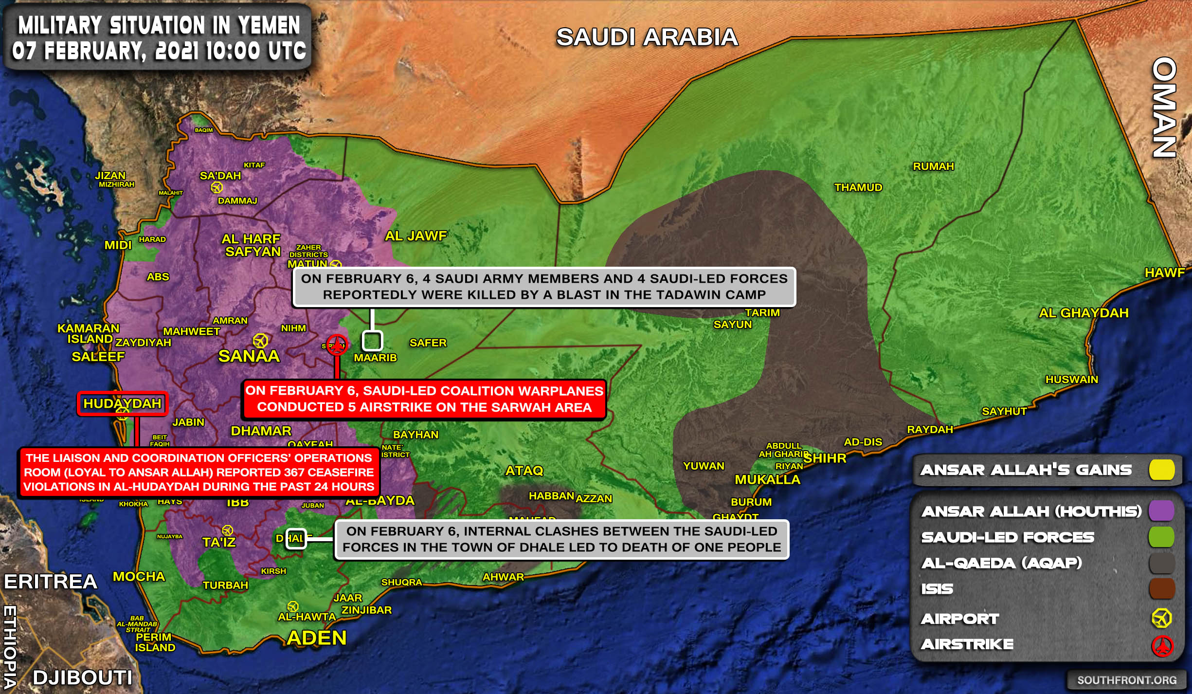 Military Situation In Yemen On February 7, 2021 (Map Update)