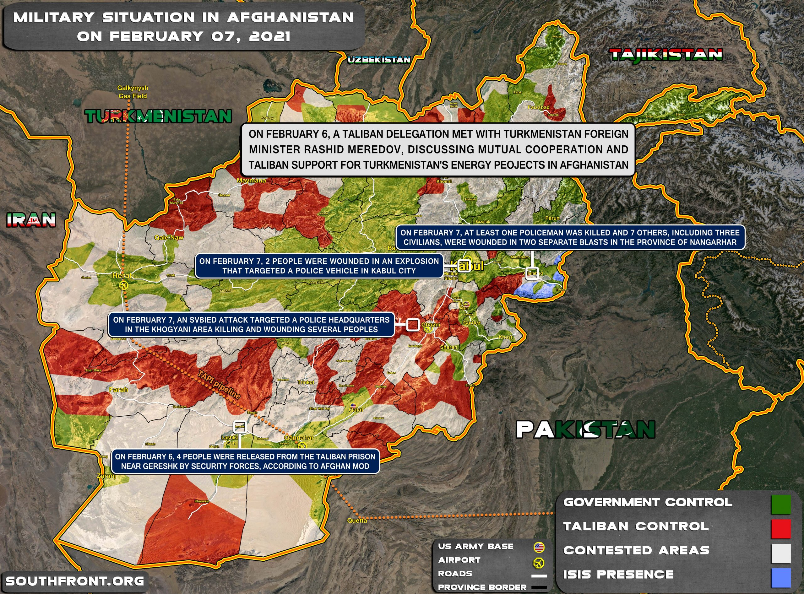 Military Situation In Afghanistan On February 7, 2021 (Map Update)
