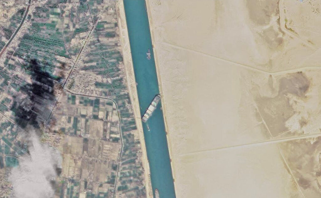 Satellite Image Shows Megaship Blocking Suez Canal