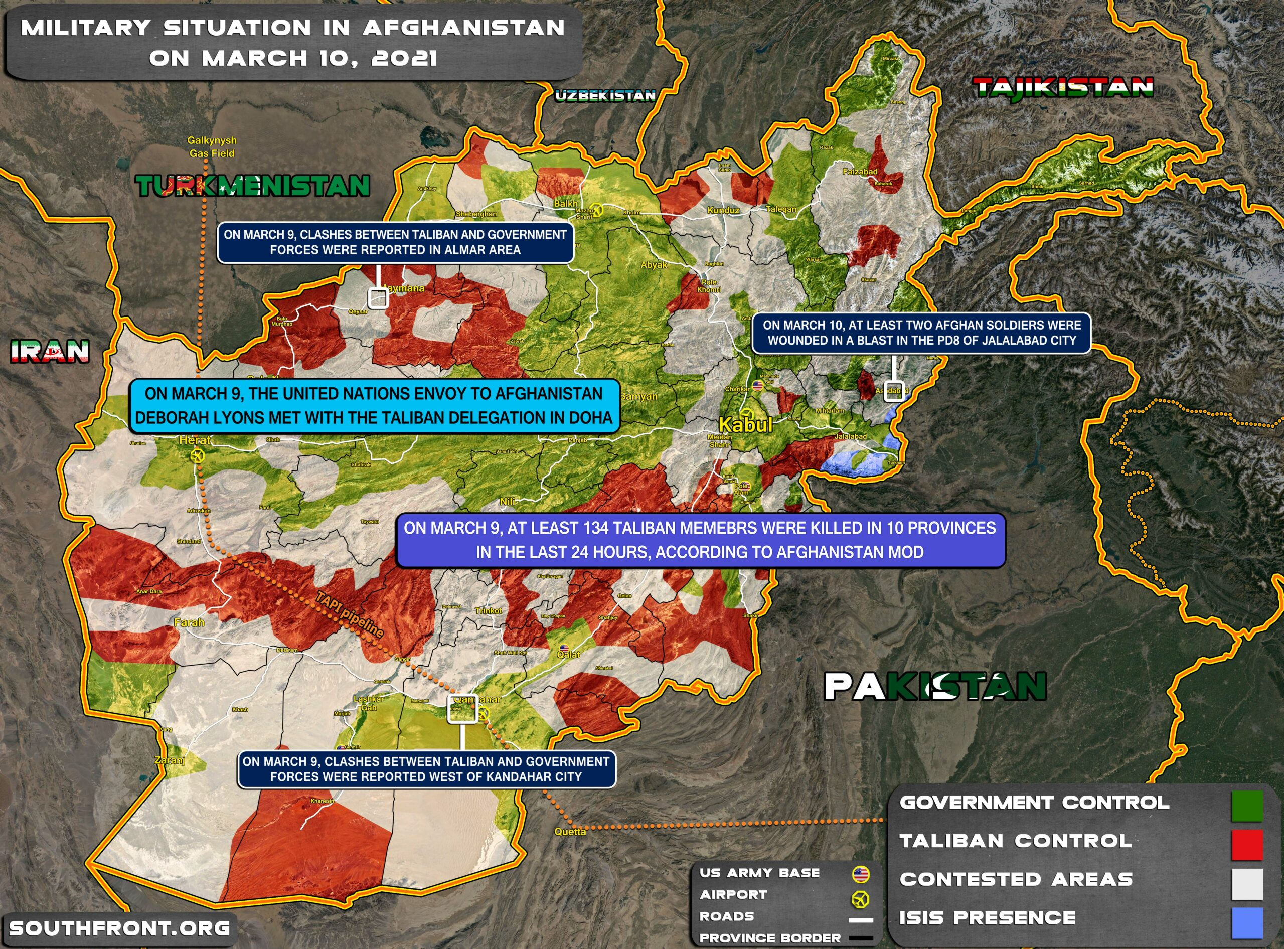 Military Situation In Afghanistan On March 10, 2021 (Map Update)