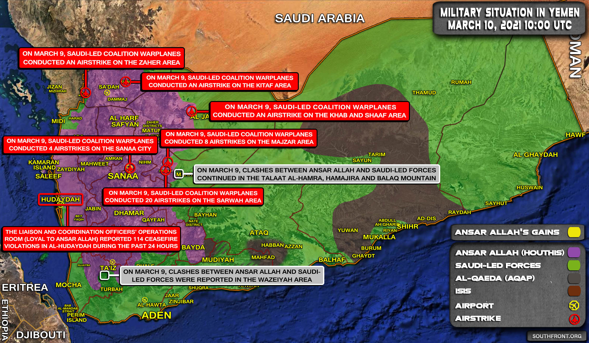 Military Situation In Yemen On March 10, 2021 (Map Update)