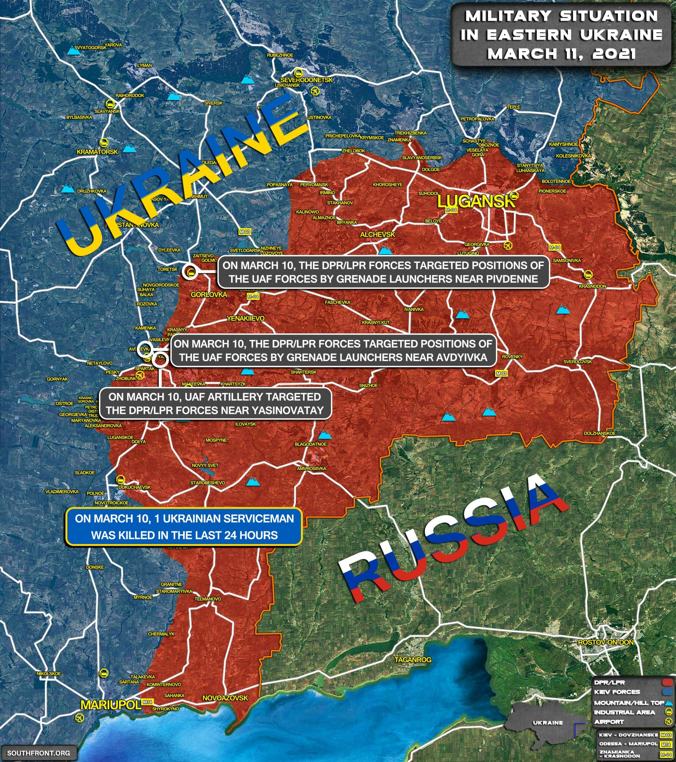 Military Situation In Eastern Ukraine On March 11, 2021 (Map Update)