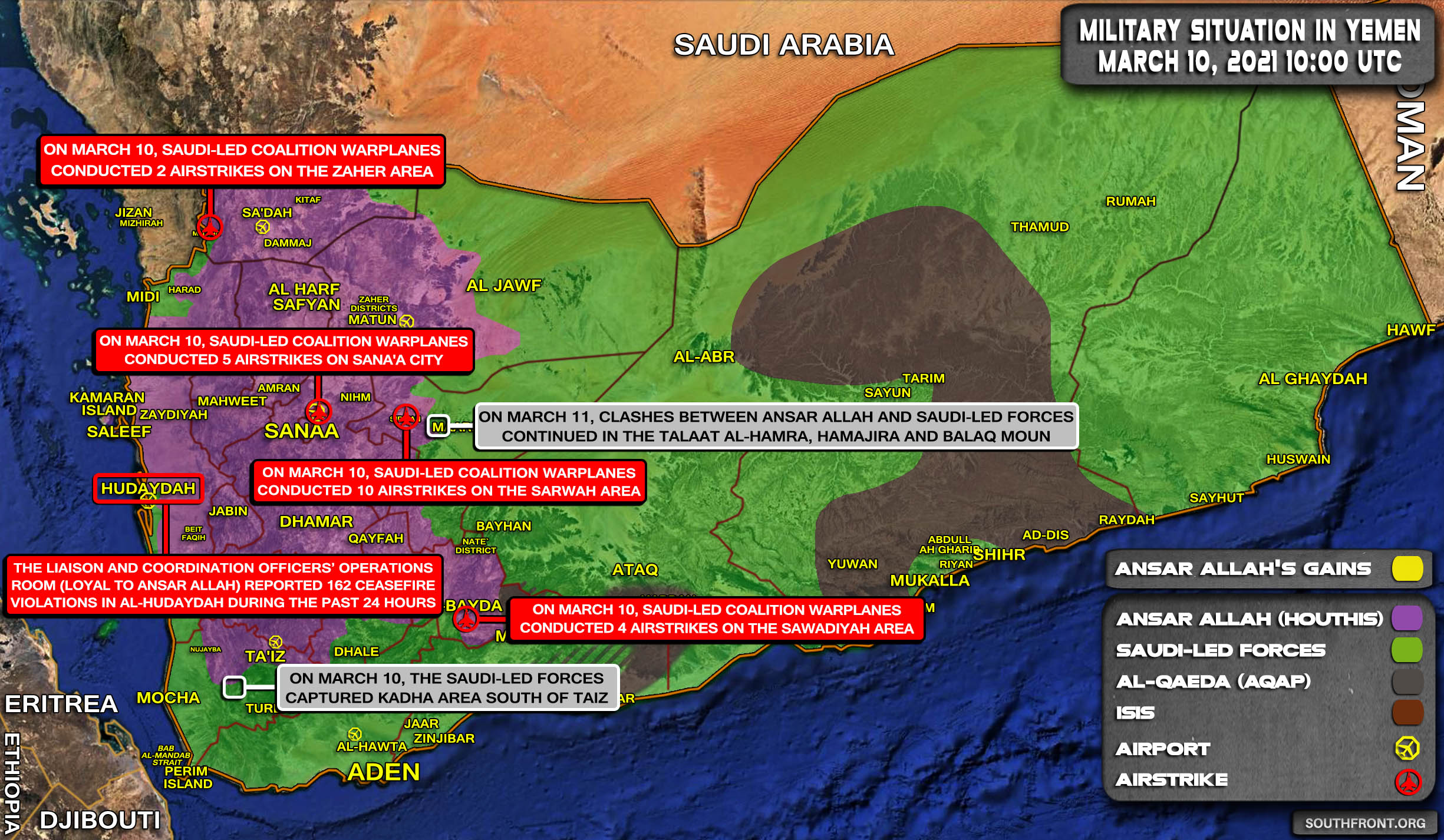 Military Situation In Yemen On March 11, 2021 (Map Update)