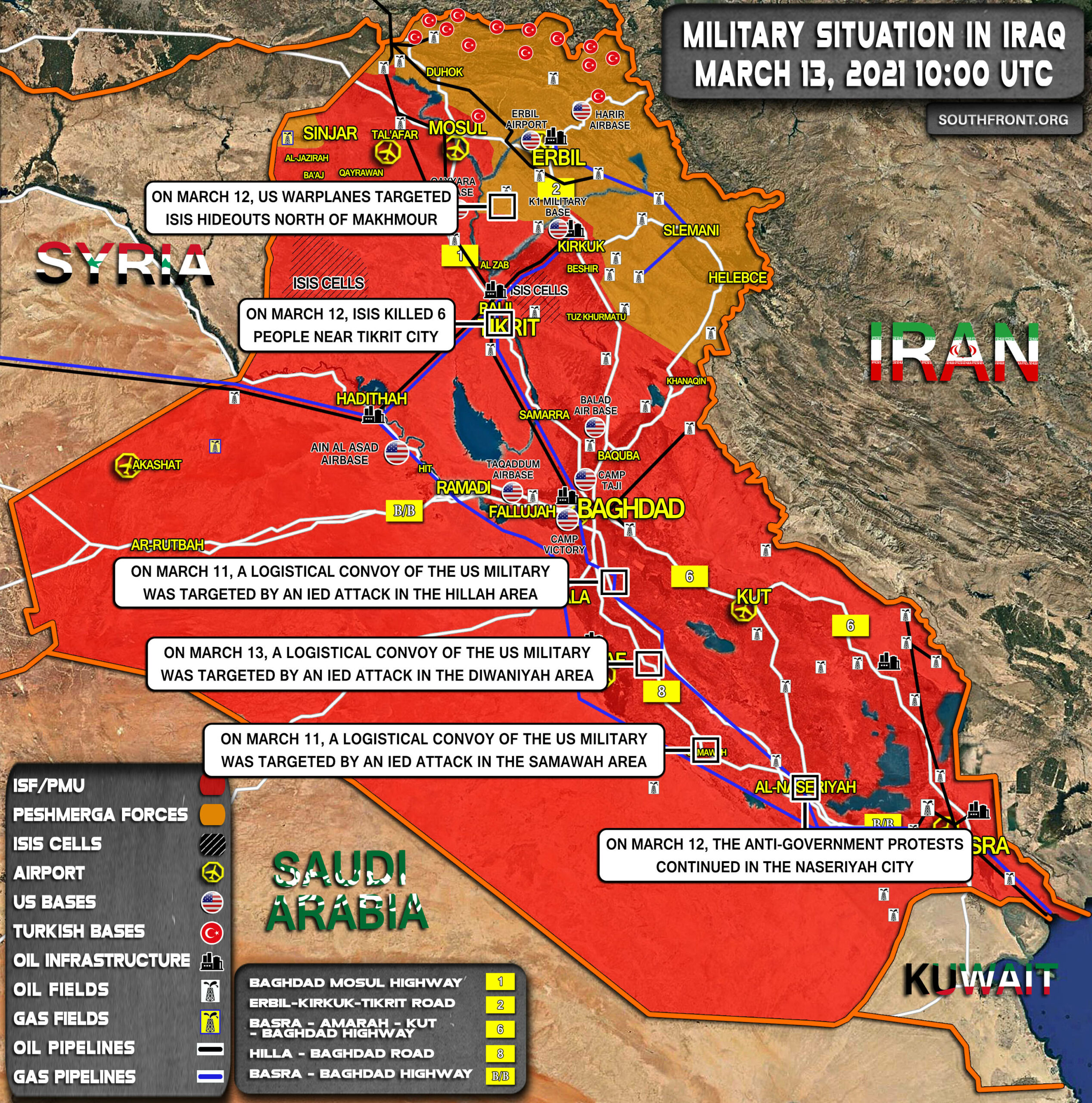 Military Situation In Iraq On March 13, 2021 (Map Update)