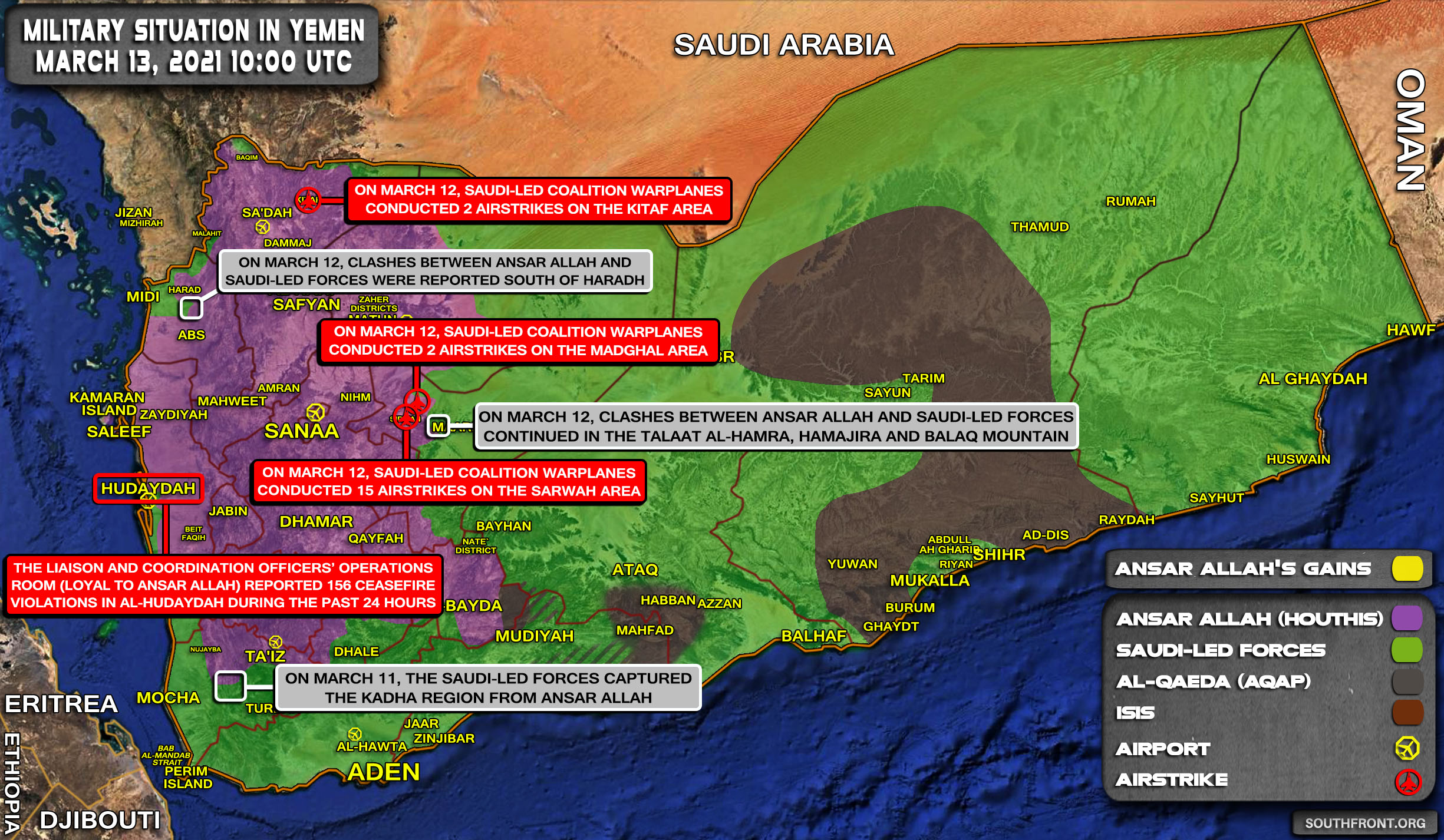 Military Situation In Yemen On March 13, 2021 (Map Update)