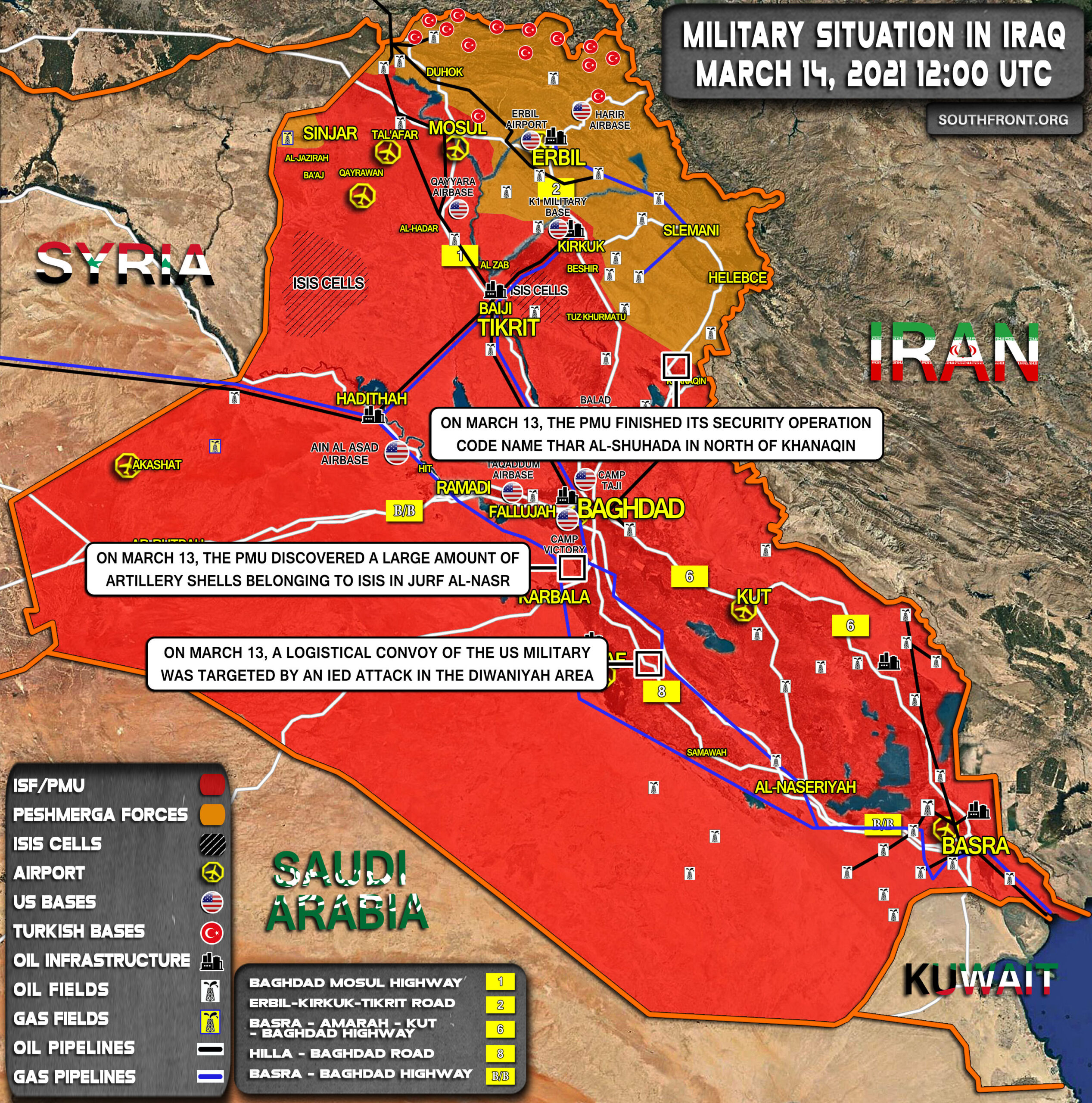 Military Situation In Iraq On March 14, 2021 (Map Update)