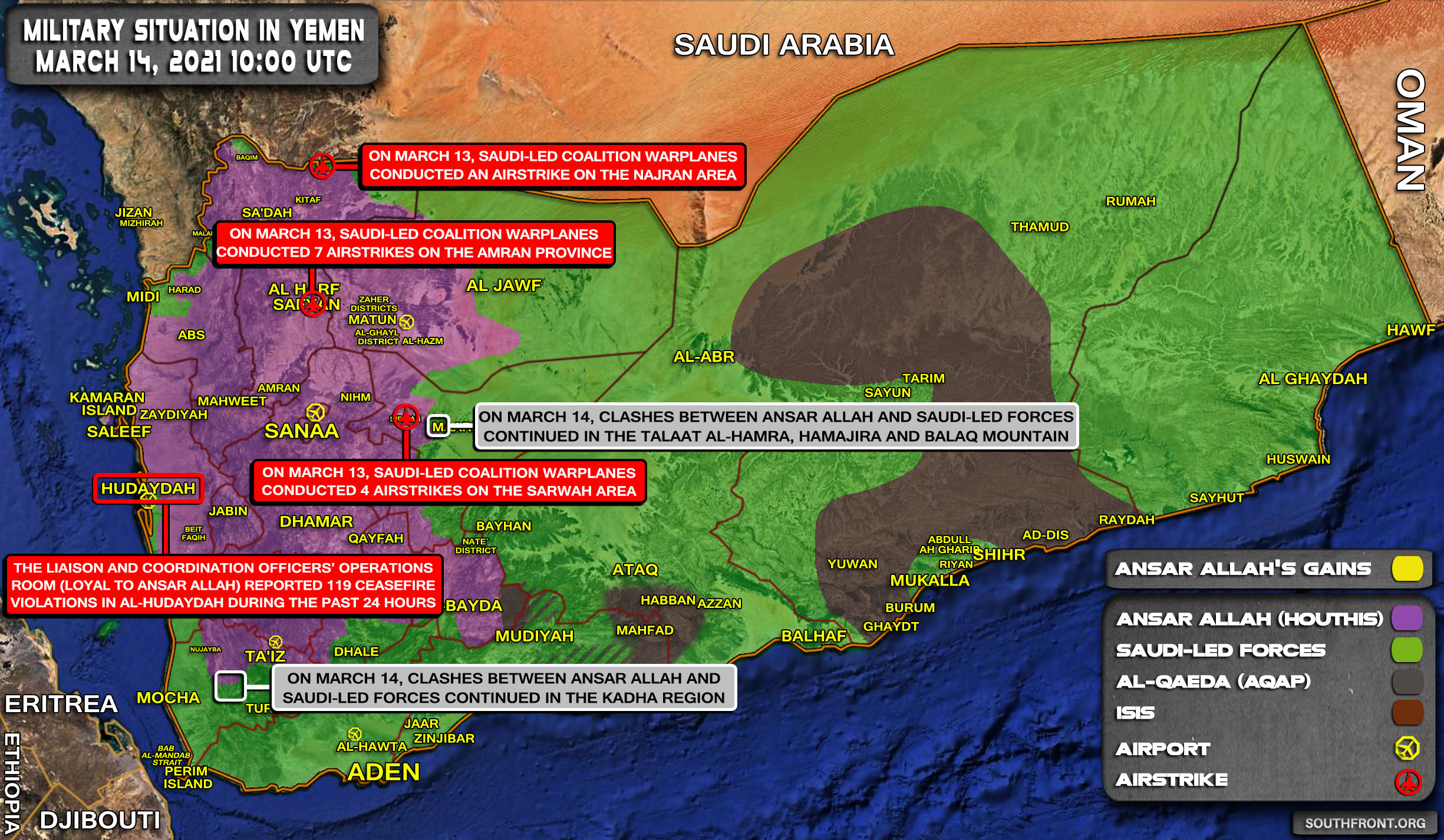 Military Situation In Yemen On March 14, 2021 (Map Update)