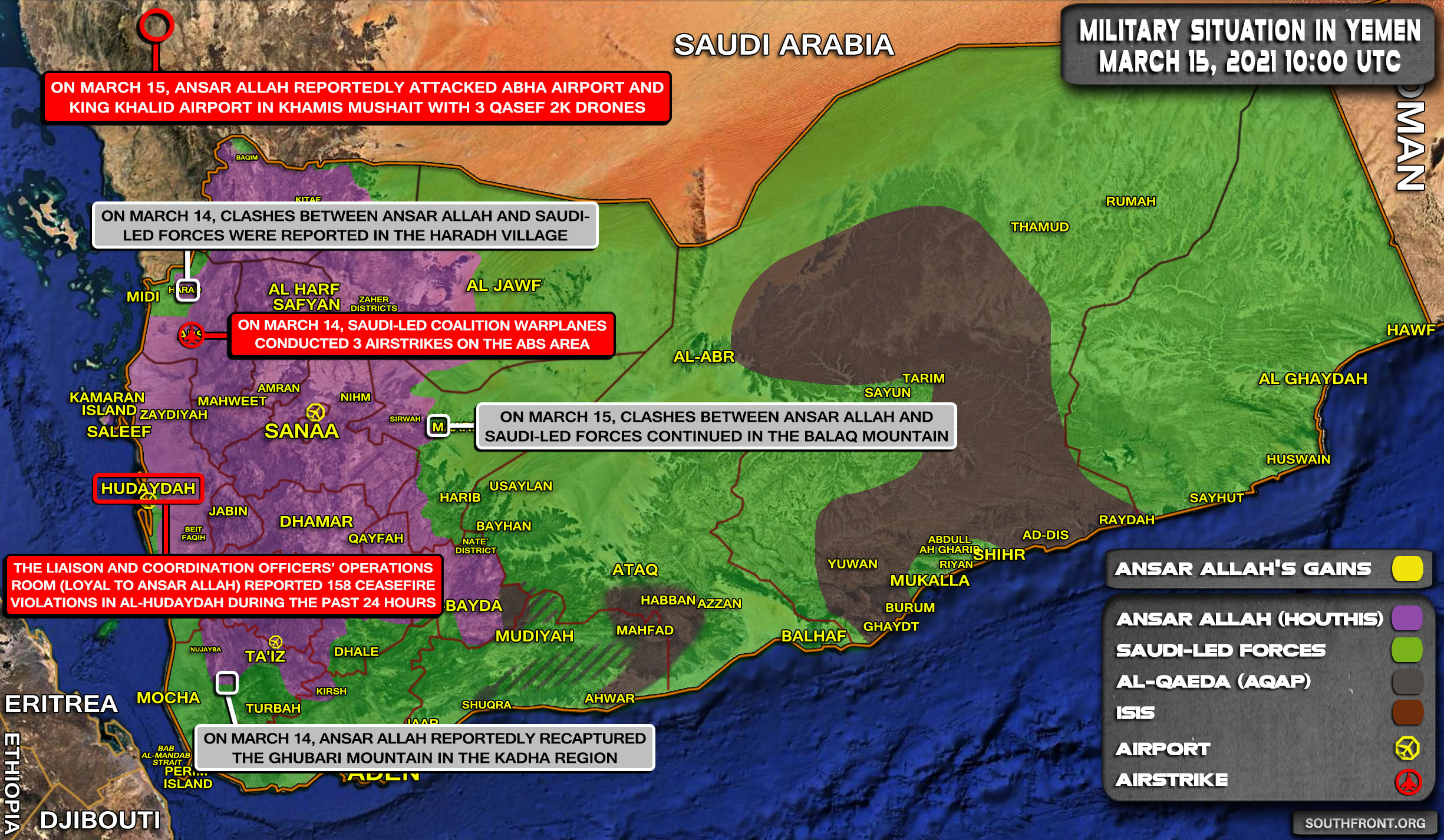 Military Situation In Yemen On March 15, 2021 (Map Update)