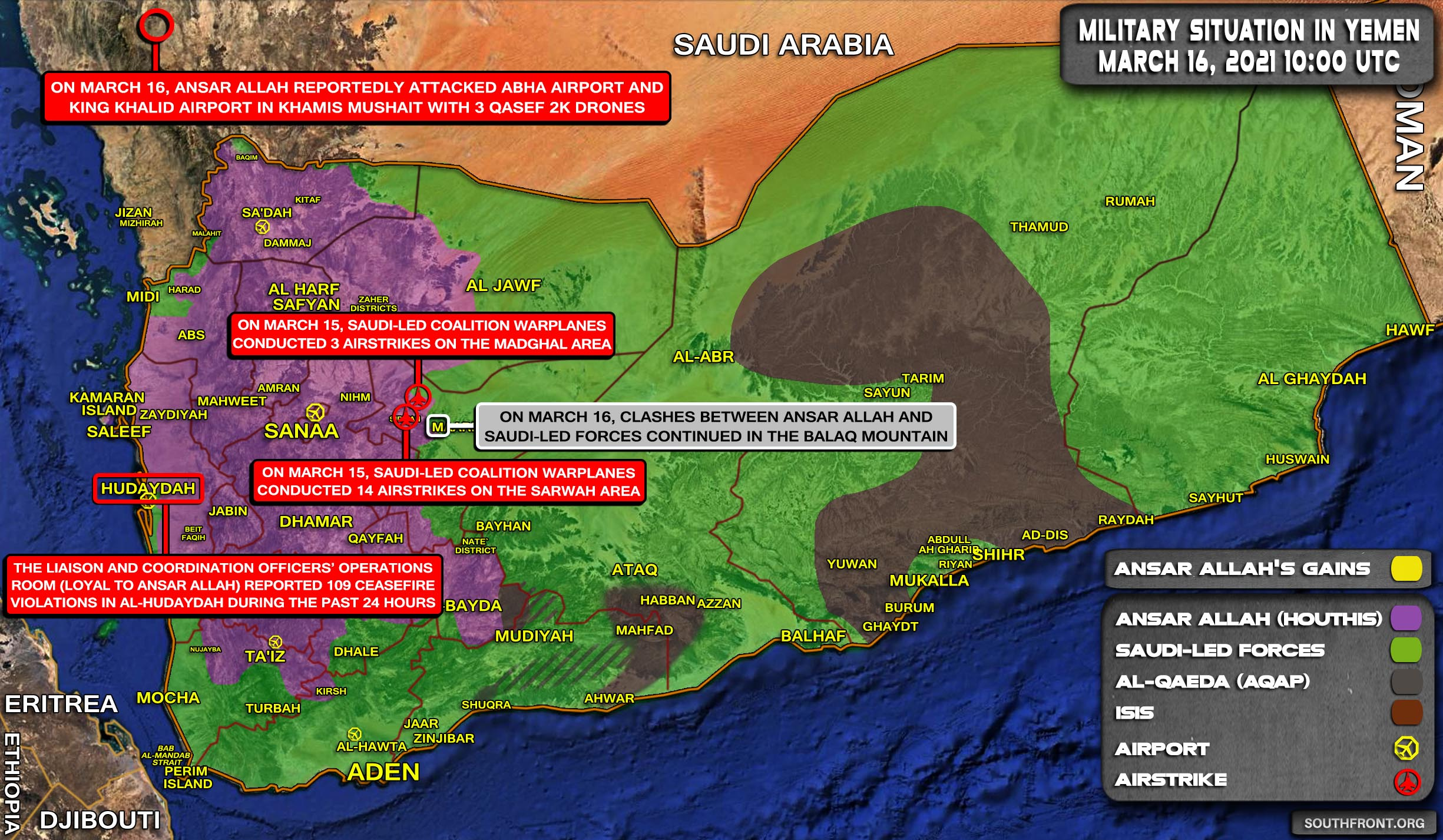 Military Situation In Yemen On March 16, 2021 (Map Update)