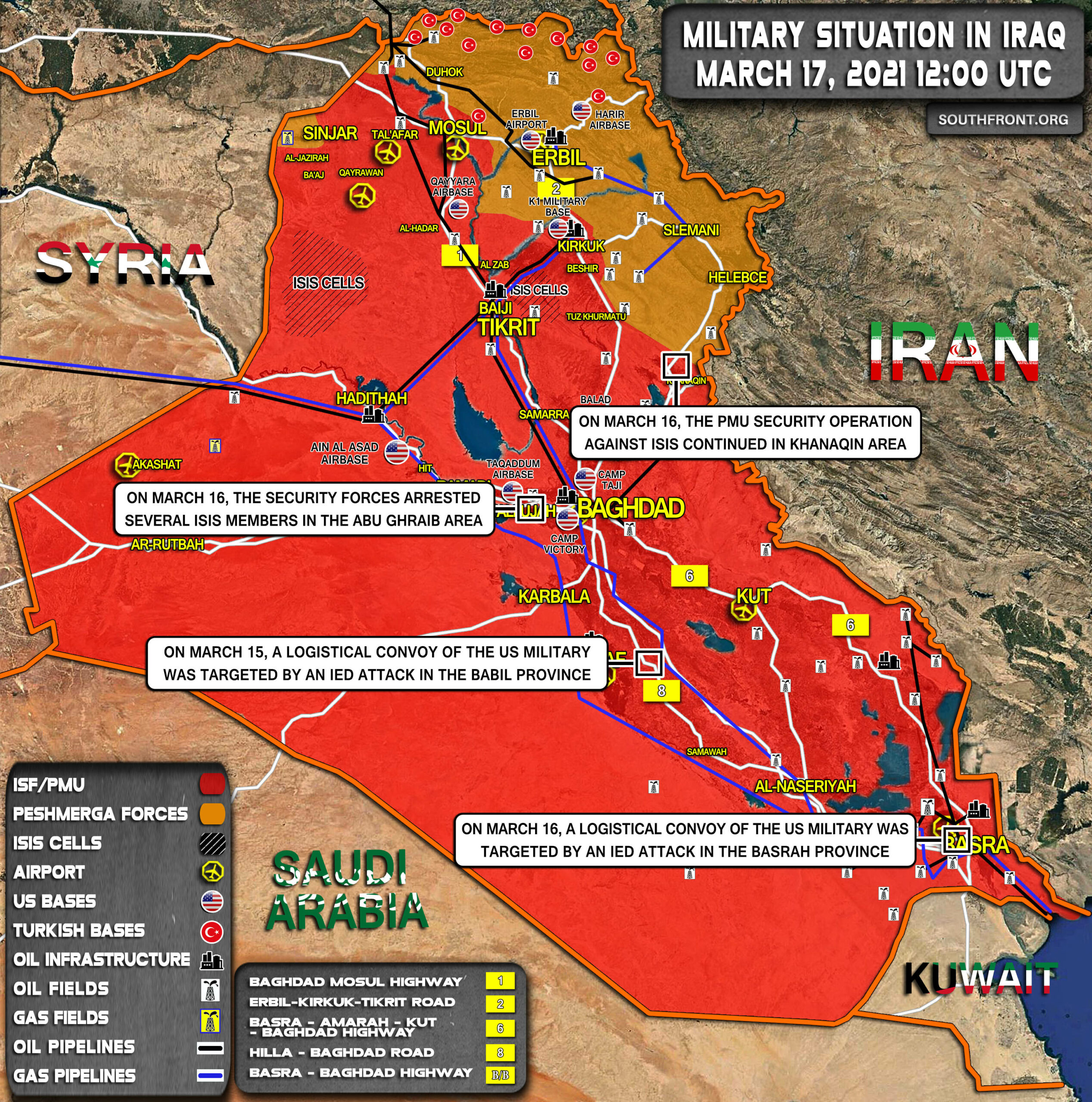 Military Situation In Iraq On March 17, 2021 (Map Update)