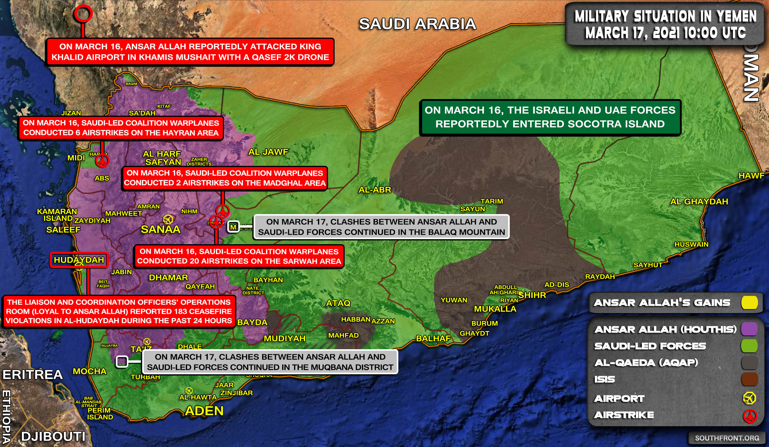 Military Situation In Yemen On March 17, 2021 (Map Update)