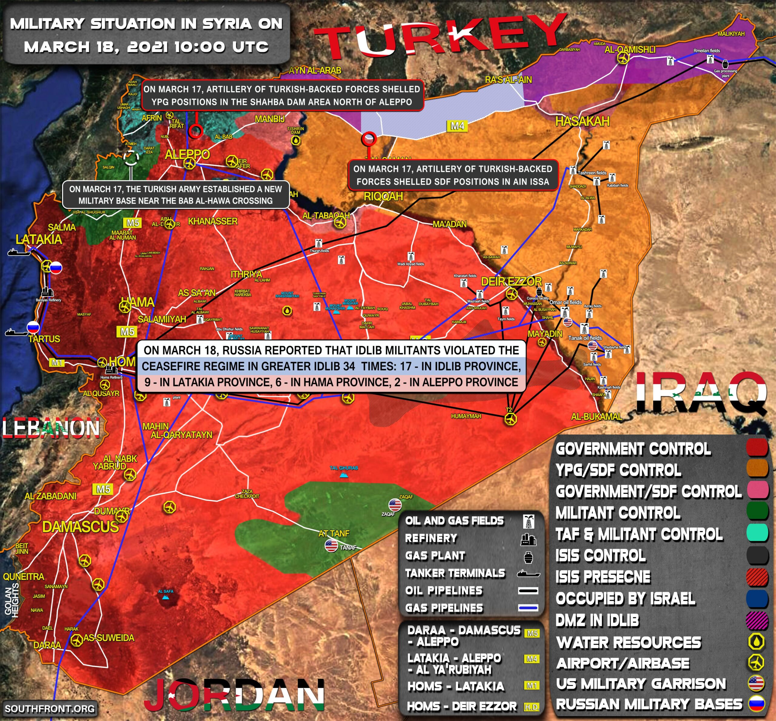 Military Situation In Syria On March 18, 2021 (Map Update)
