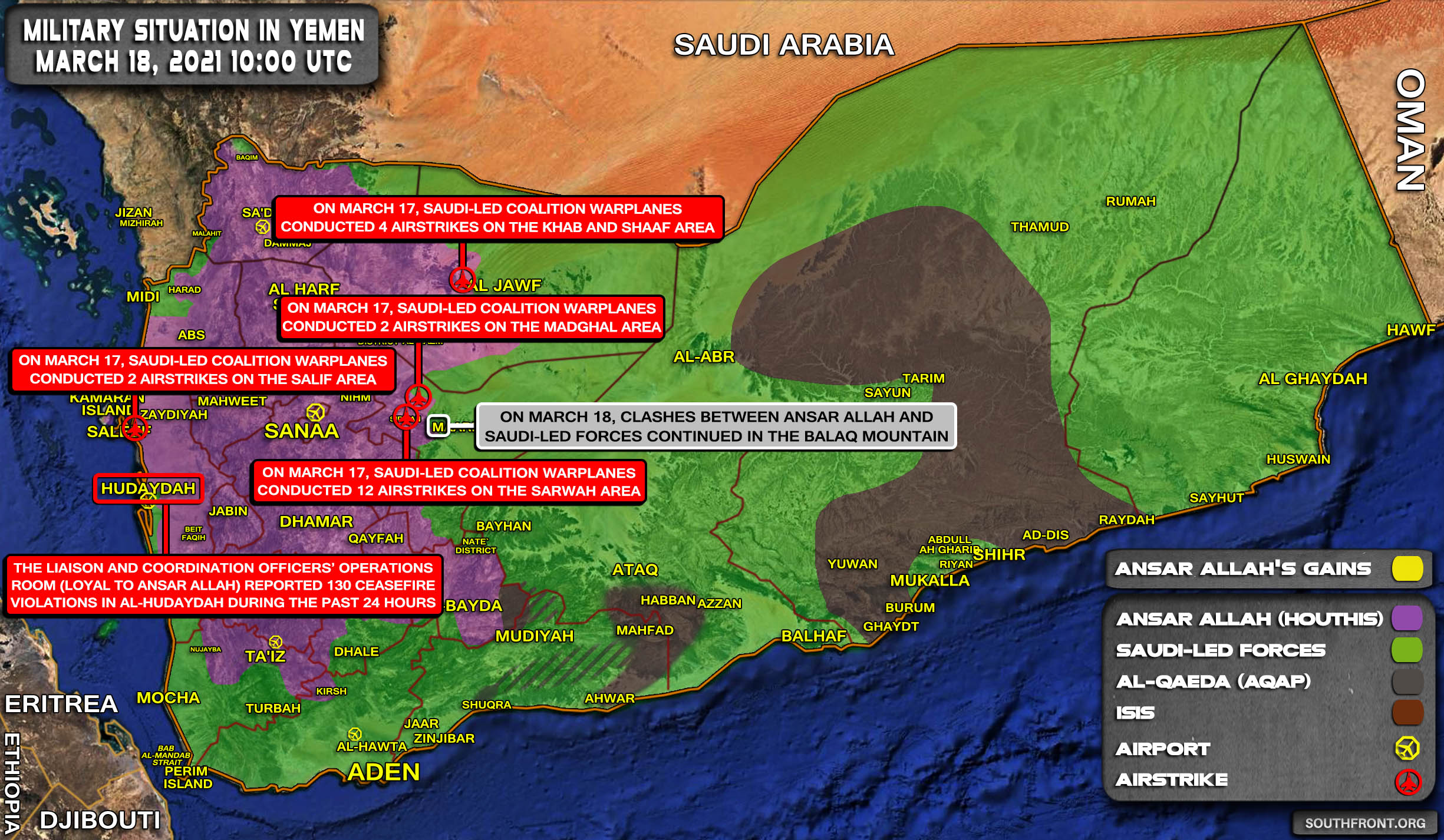 Military Situation In Yemen On March 18, 2021 (Map Update)