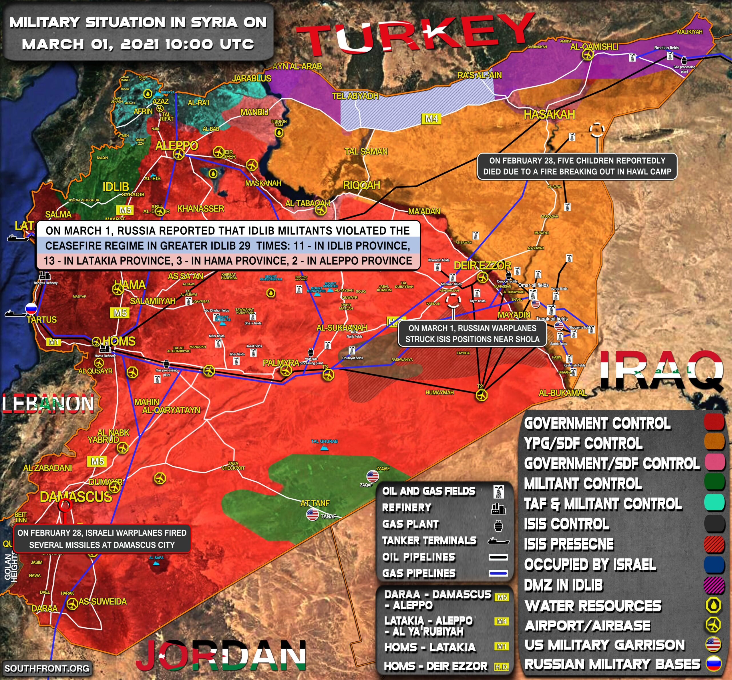 Military Situation In Syria On March 1 2021 (Map Update)
