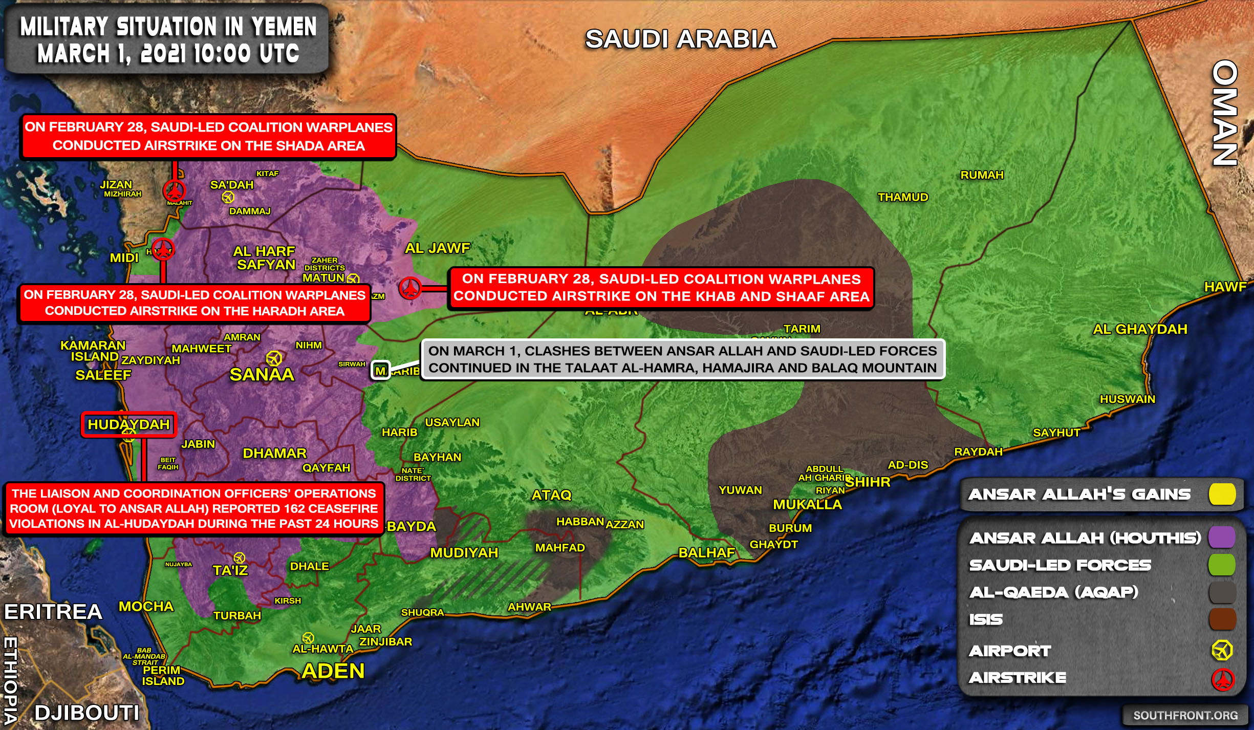 Military Situation In Yemen On March 1, 2021 (Map Update)