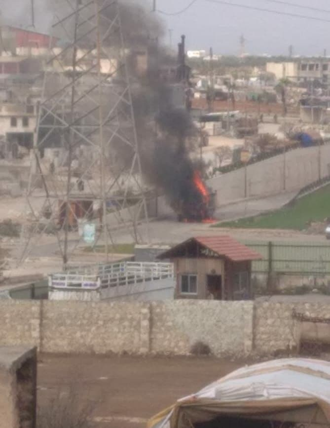 In Photos: Turkish Army Supply Vehicle Is Blown Up In IED Attack In Idlib