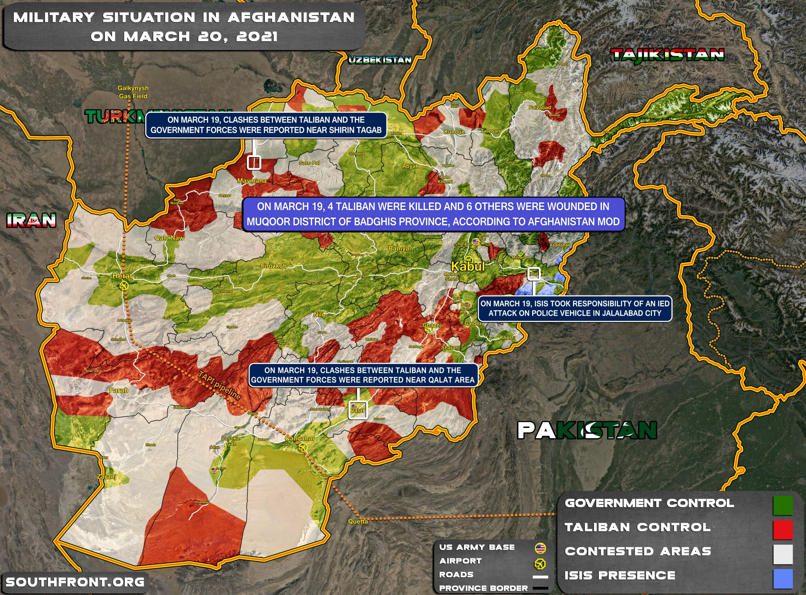 Military Situation In Afghanistan On March 20, 2021 (Map Update)