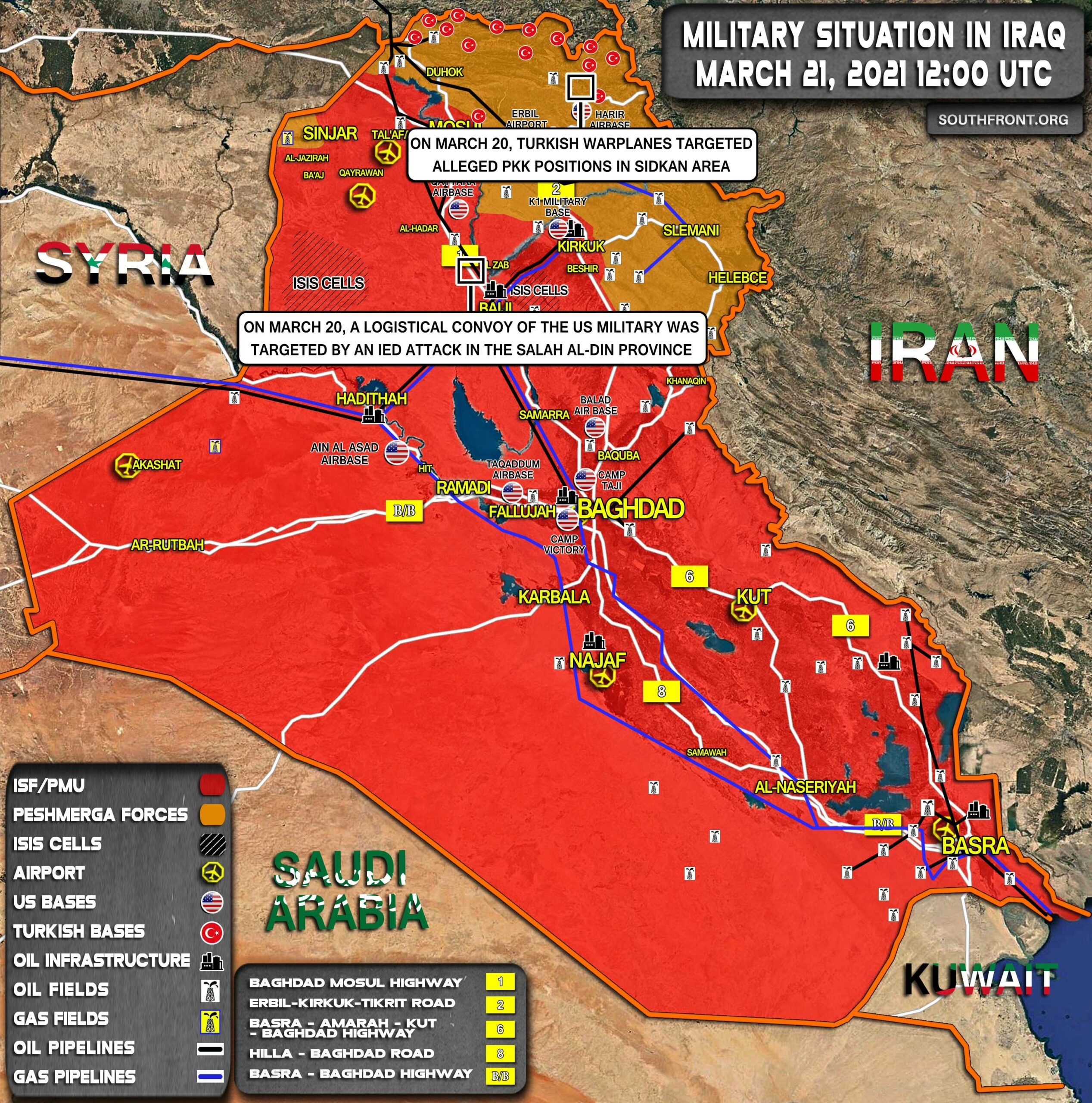 Military Situation In Iraq On March 21, 2021 (Map Update)