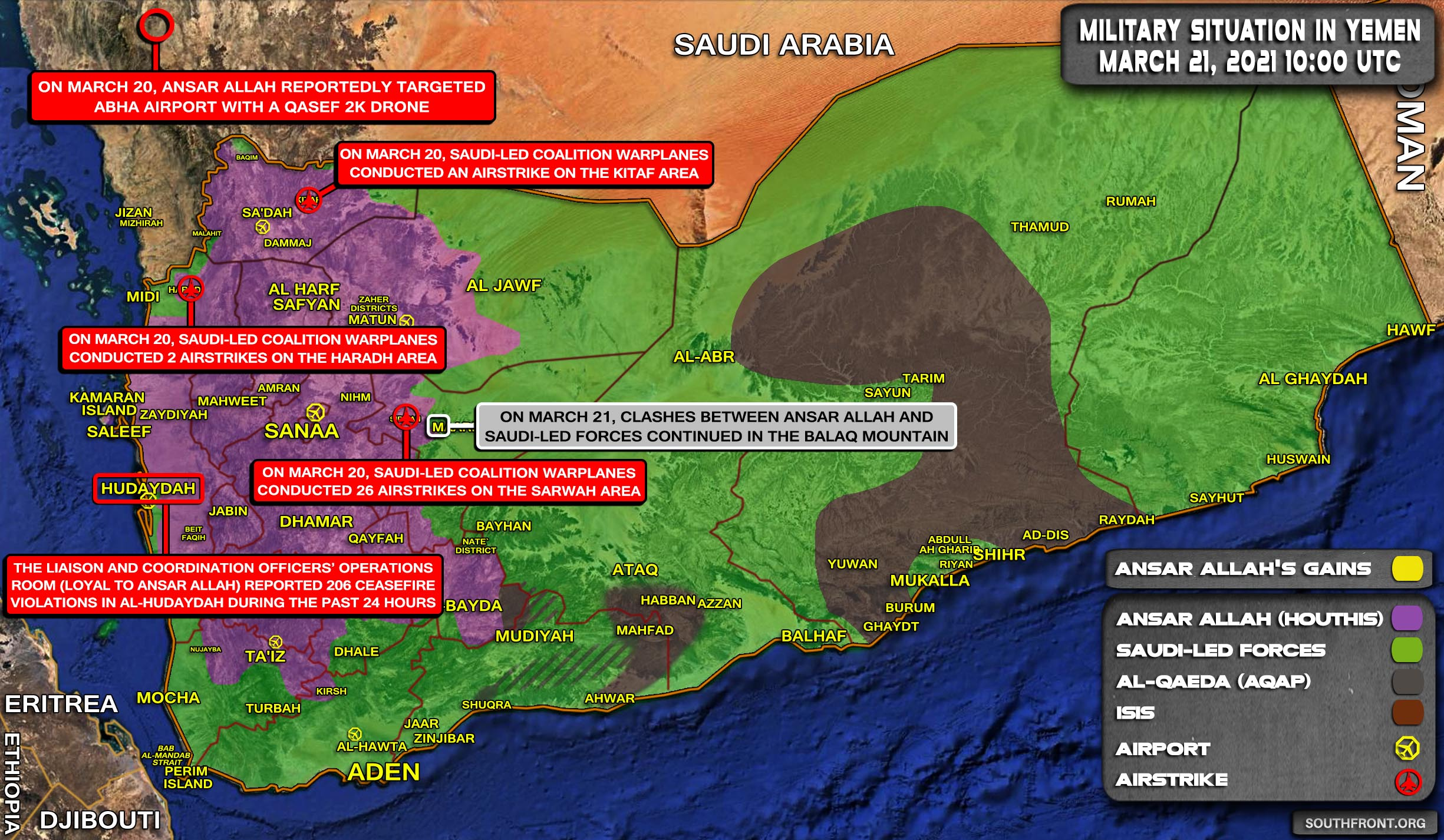 Military Situation In Yemen On March 21, 2021 (Map Update)