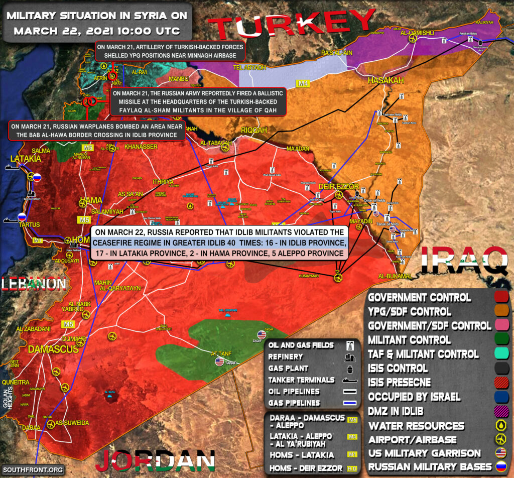 Military Situation In Syria On March 22, 2021 (Map Update)