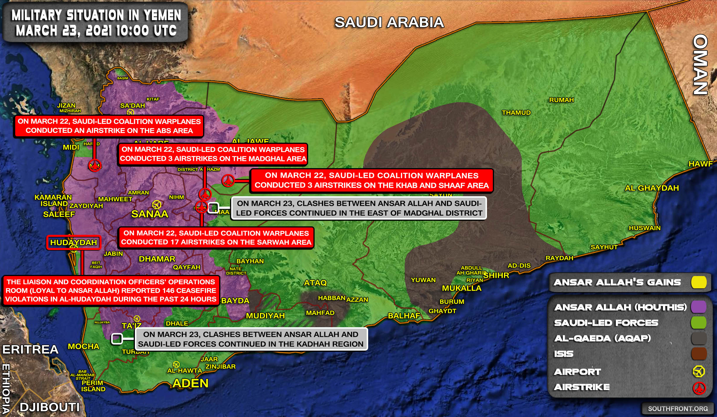 Military Situation In Yemen On March 23, 2021 (Map Update)