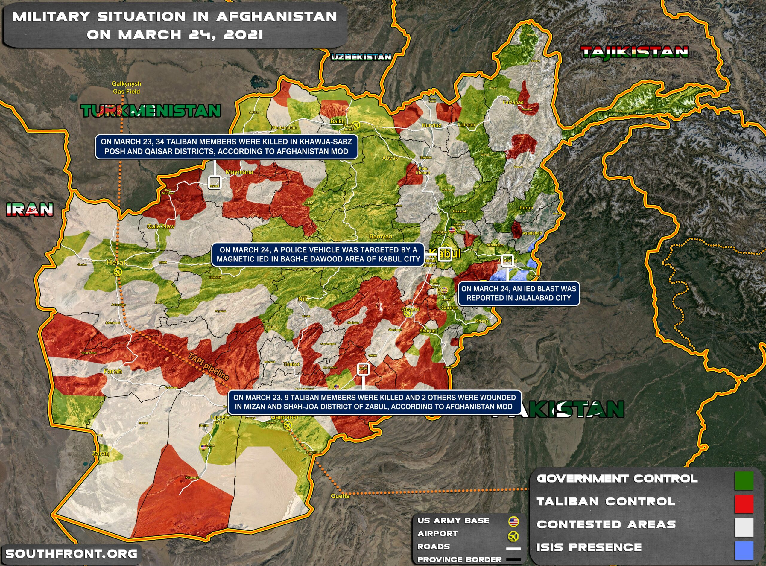 Military Situation In Afghanistan On March 24, 2021 (Map Update)
