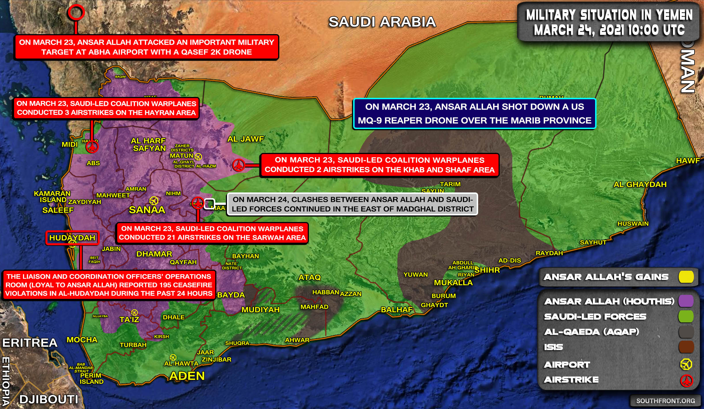 Military Situation In Yemen On March 24, 2021 (Map Update)