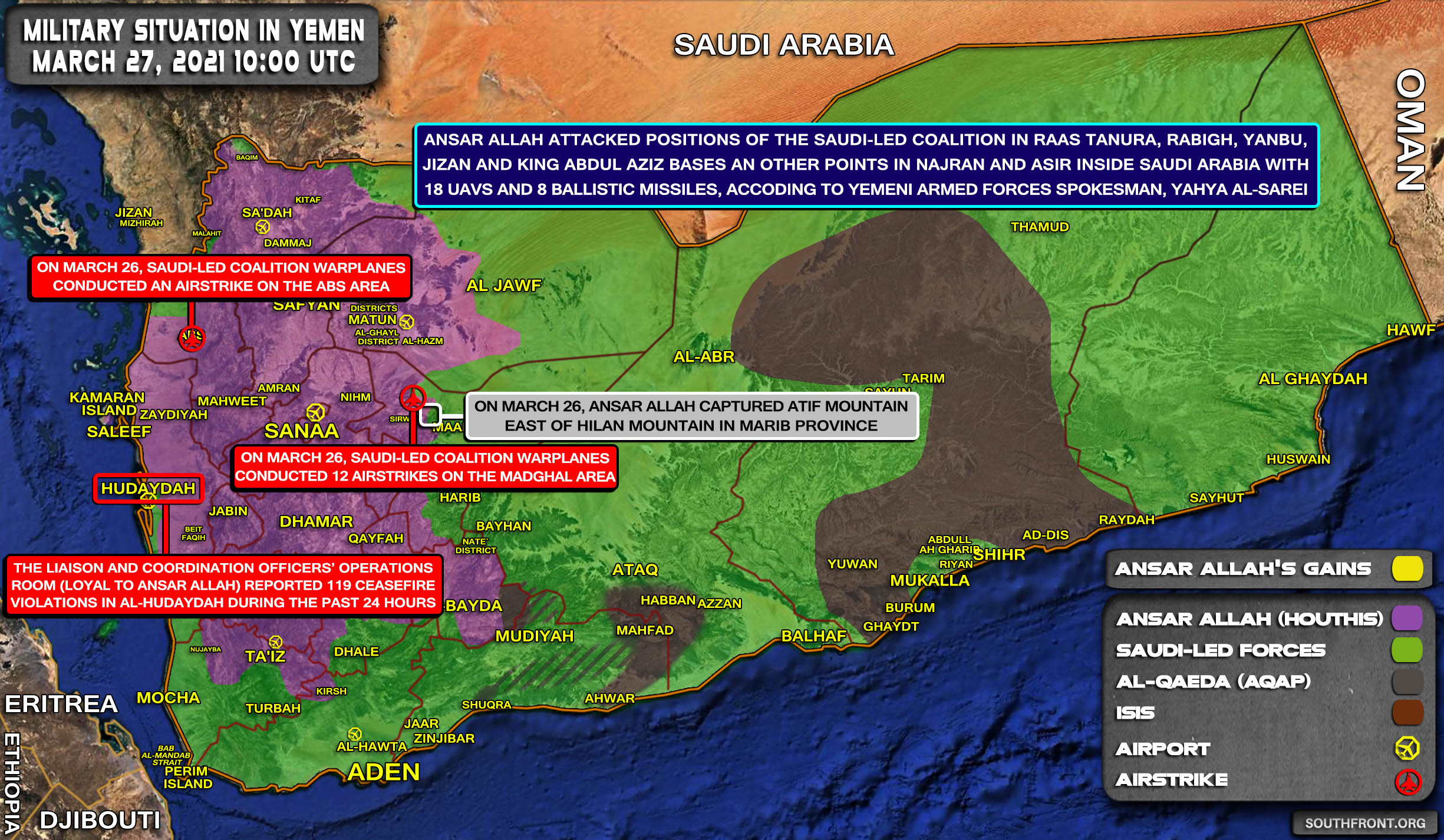 Military Situation In Yemen On March 26, 2021 (Map Update)