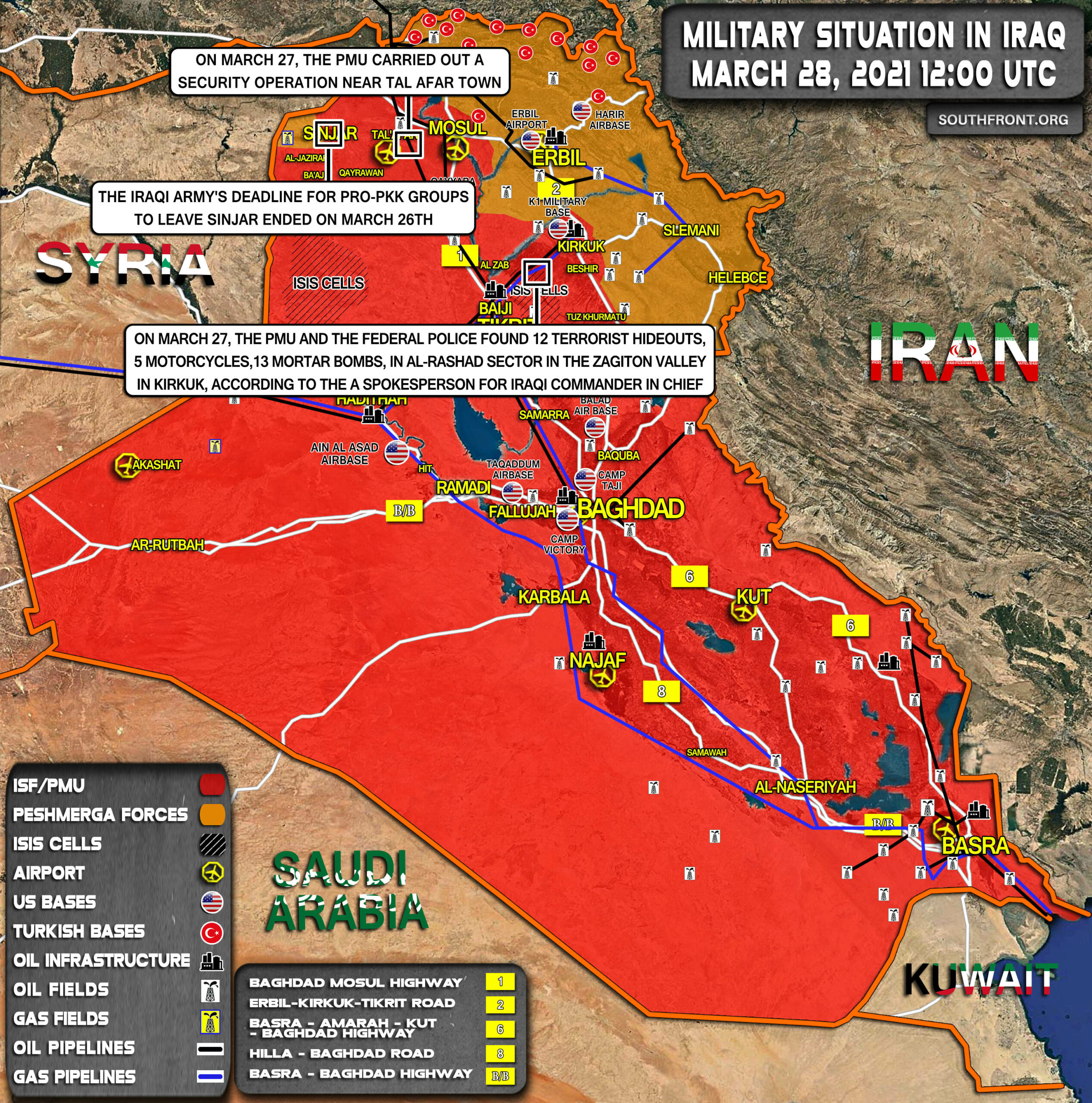 Military Situation In Iraq On March 28, 2021 (Map Update)
