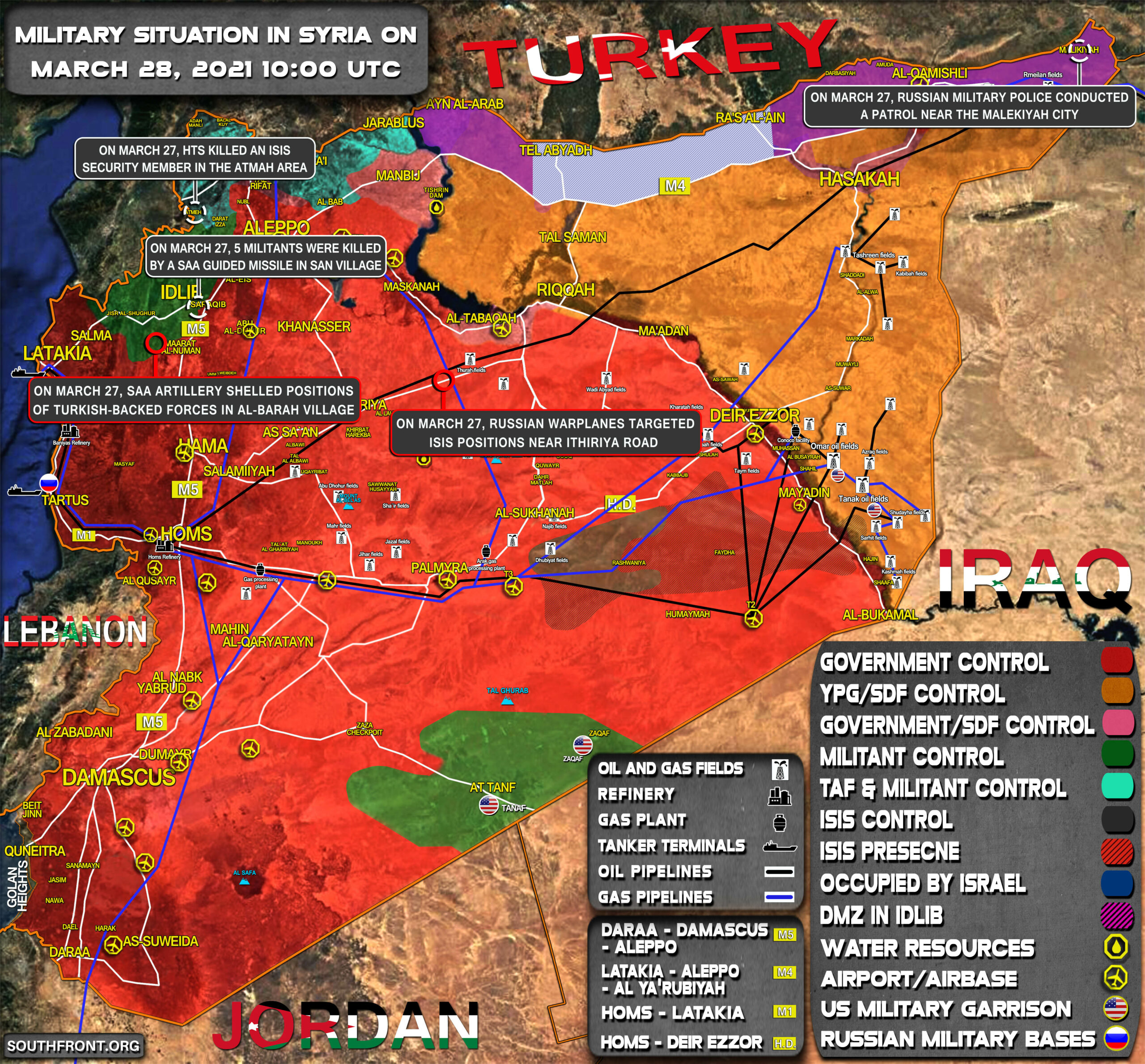 Military Situation In Syria On March 28, 2021 (Map Update)