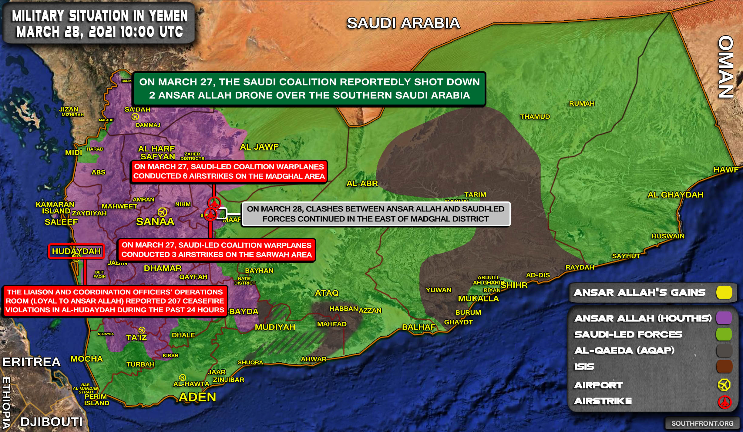 Military Situation In Yemen On March 28, 2021 (Map Update)