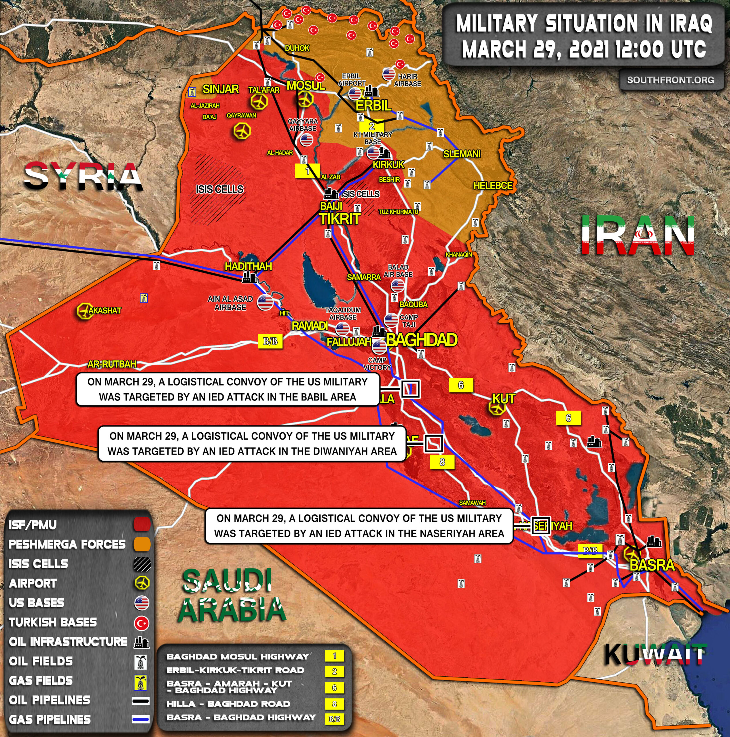 Military Situation In Iraq On March 29, 2021 (Map Update)