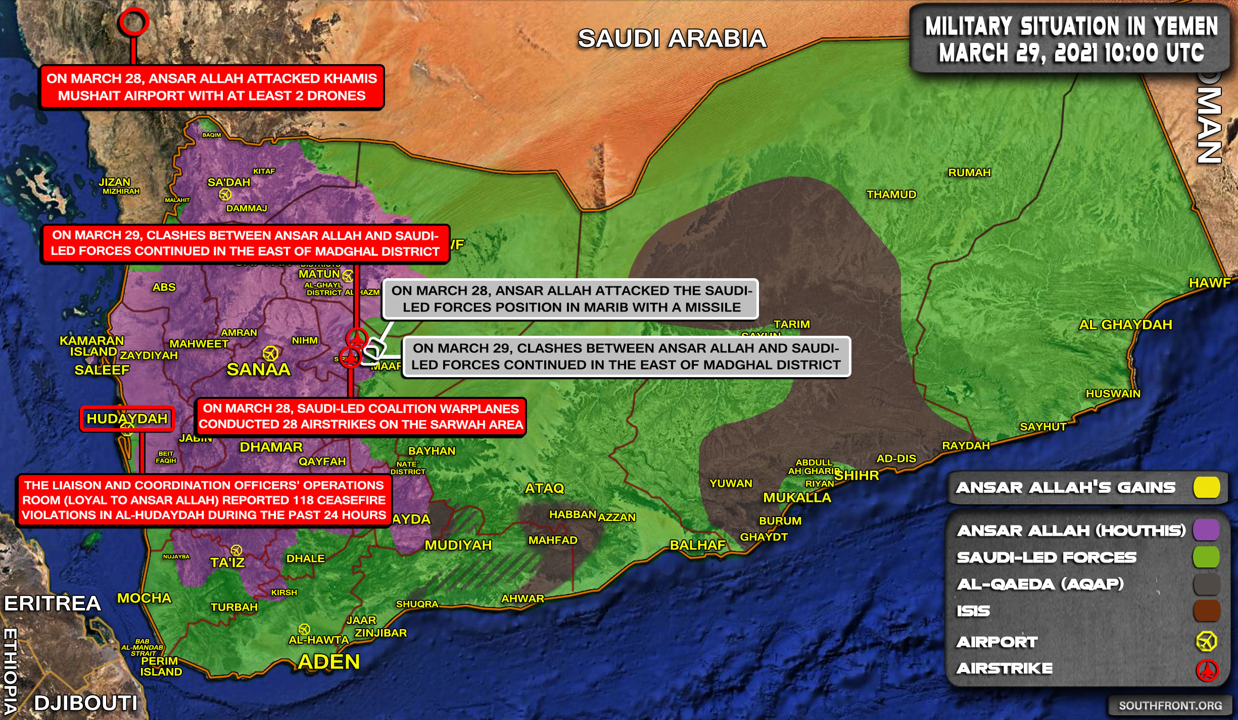 Military Situation In Yemen On March 29, 2021 (Map Update)